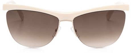 Marc Jacobs Rimless Bottom Sunglasses - Gold/Brown ...