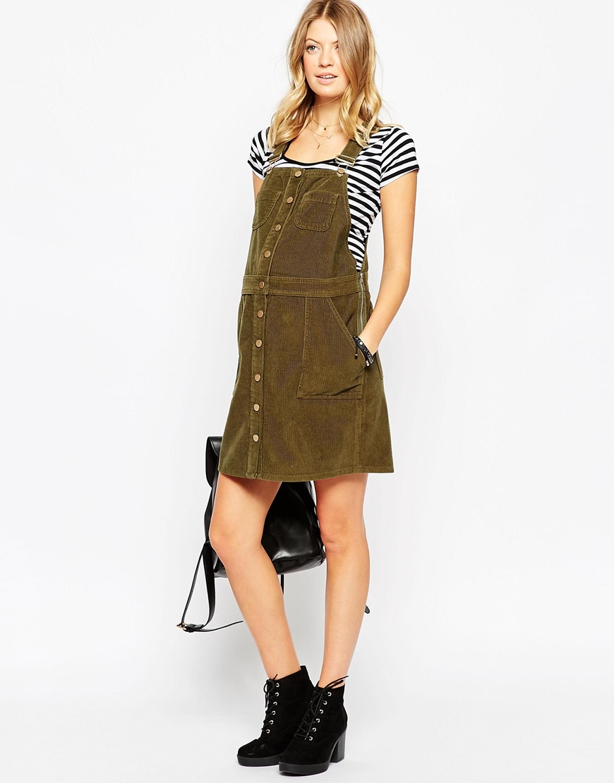 Lyst asos button down pinafore dress in cord in green gallery ombrellifo Choice Image