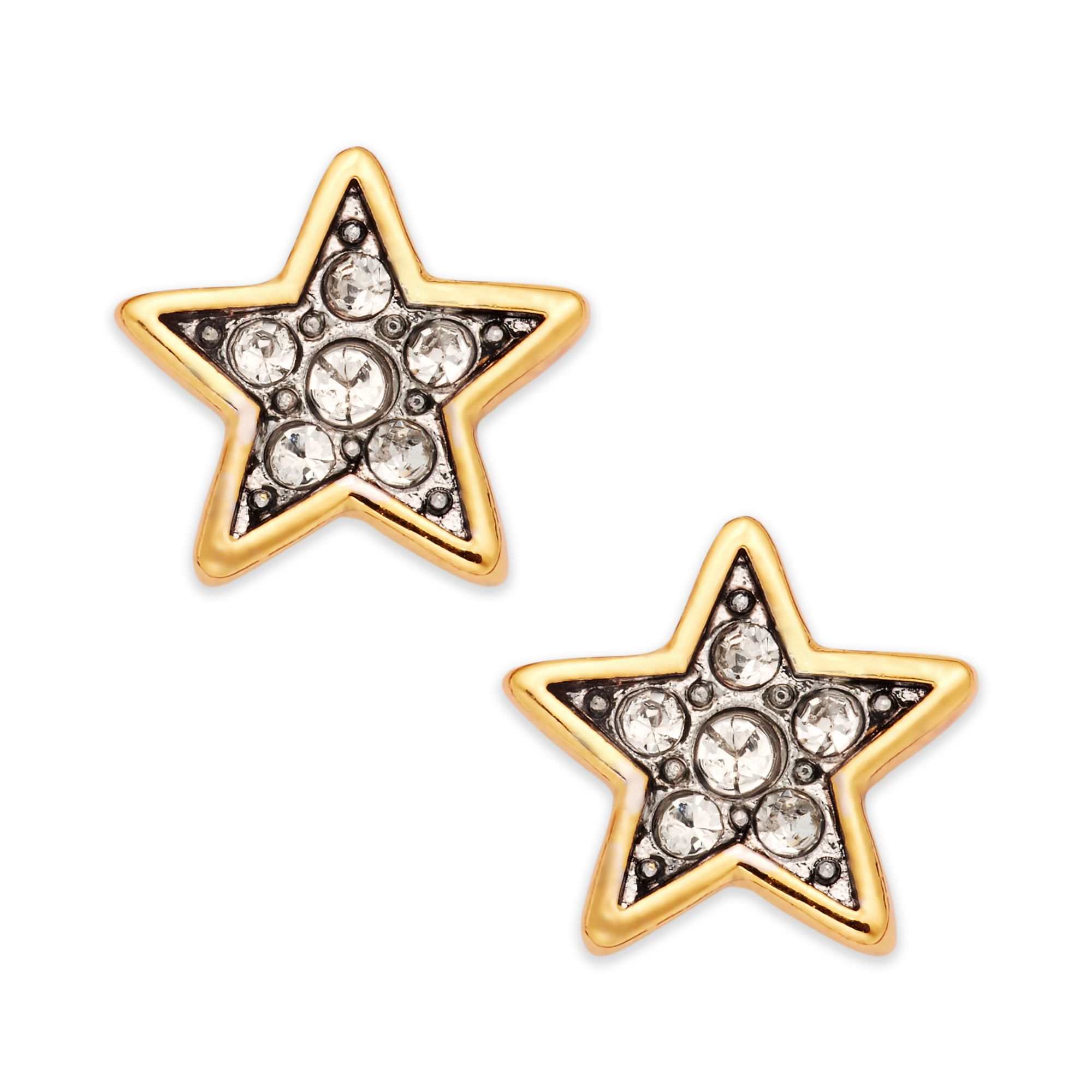 juicy couture goldtone and crystal pave star stud earrings. Black Bedroom Furniture Sets. Home Design Ideas