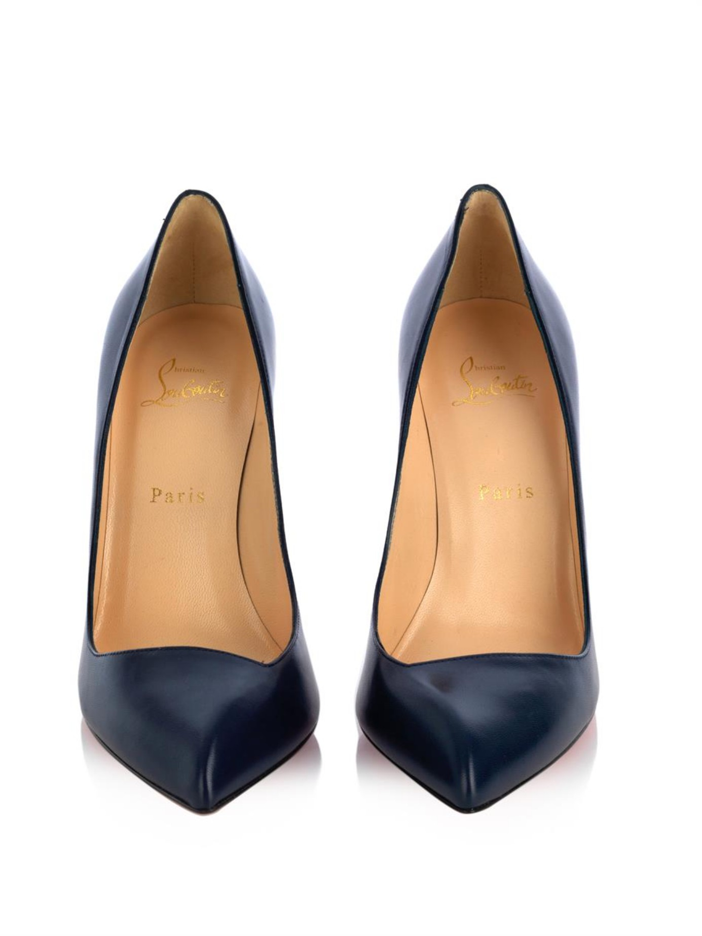 christian louboutin replicas men - Christian louboutin Corneille 100Mm Leather Pumps in Blue (Navy ...