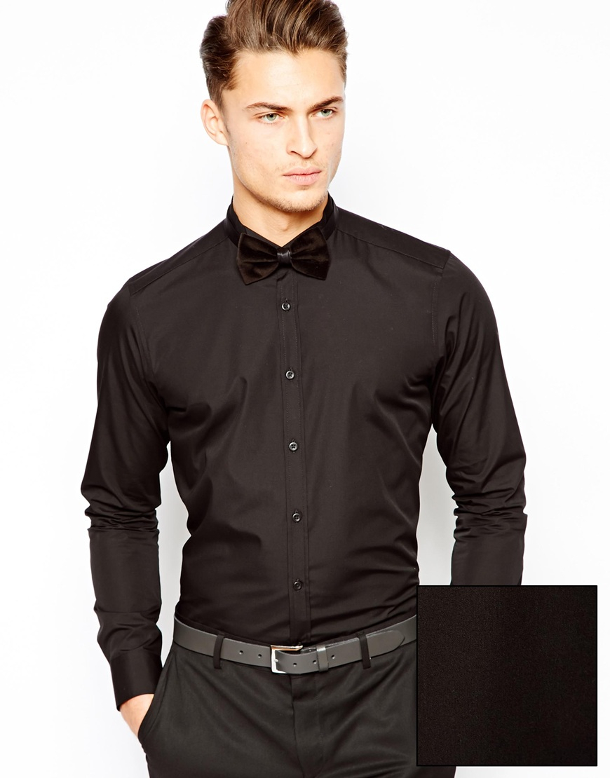 Lyst Asos Smart Tux Shirt With Wing Collar And Long