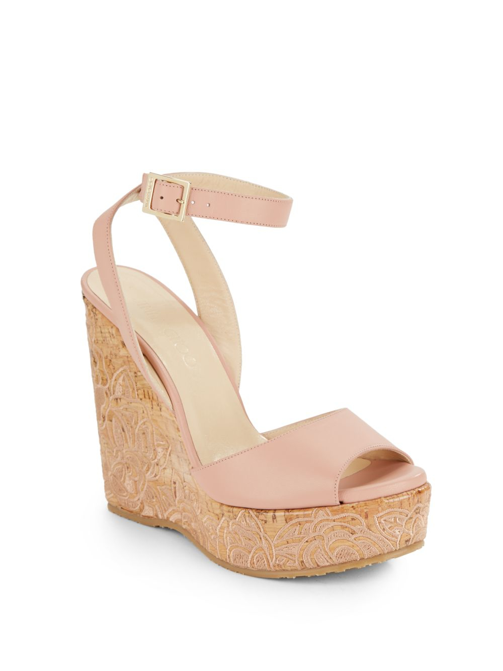 1a788a3ecf33 Lyst - Jimmy Choo Patara Leather   Embroidered Cork Wedge Sandals in ...