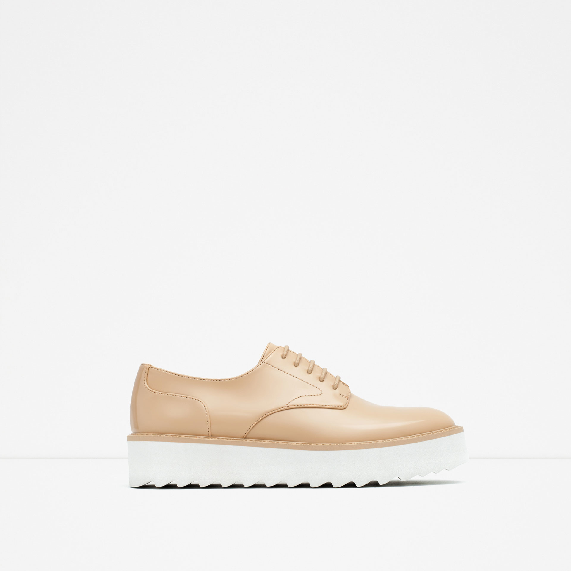 Zara Flat Platform Lace-Up Shoes in Natural | Lyst