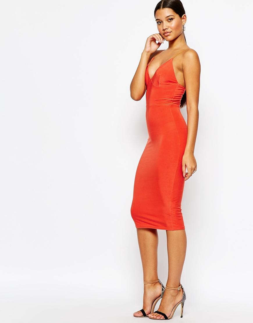 Lyst - Club L Midi Dress With Cami Strap in Orange