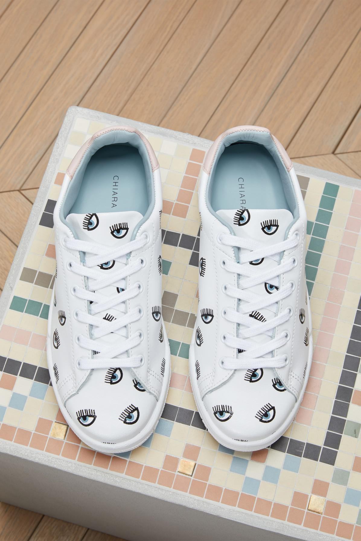 7d6f5113c6e1 Lyst - Chiara Ferragni Leather Eyes All Over Sneakers in White