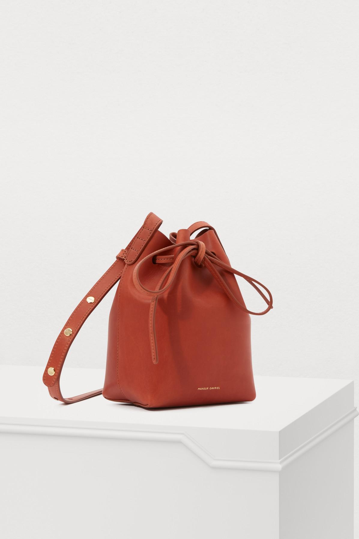 66997edfa003e Mansur Gavriel - Red Vegetable-tanned Leather Mini Bucket Bag - Lyst. View  fullscreen