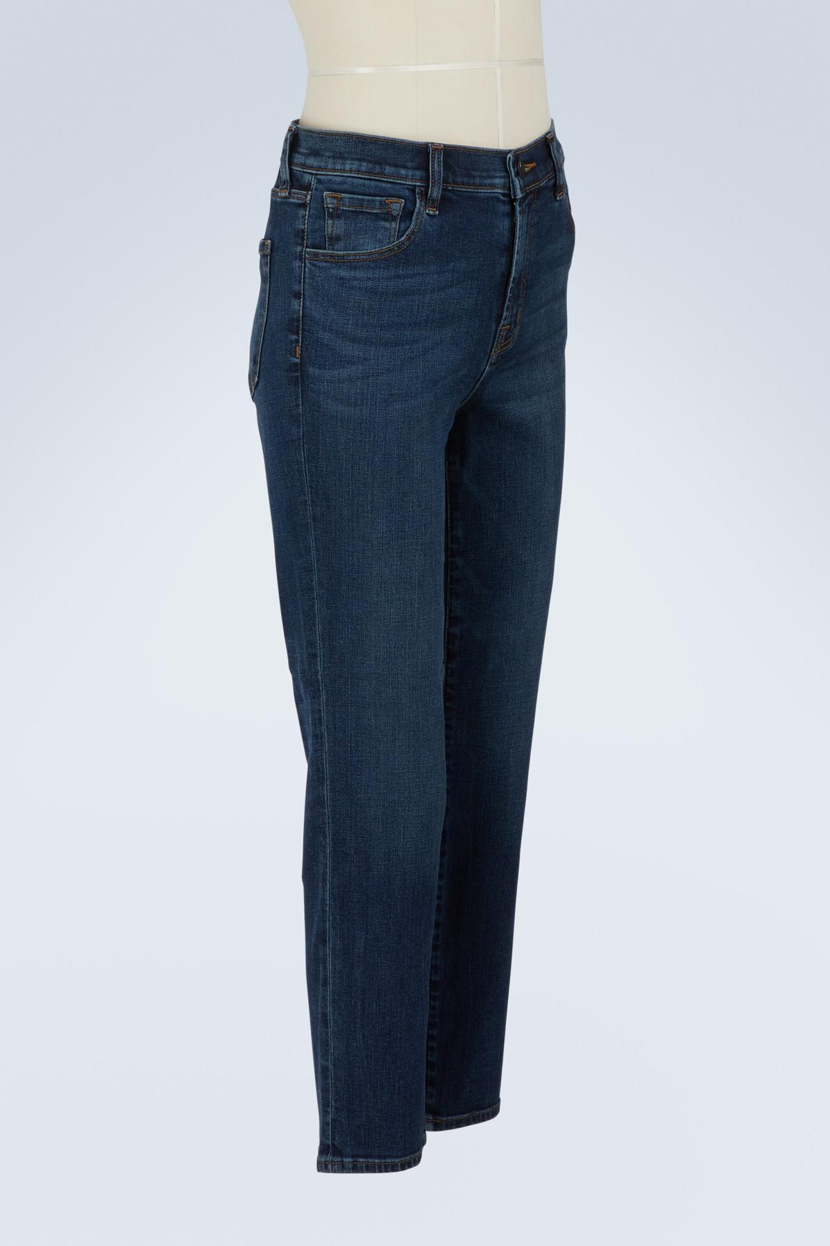 12cd3454fac4 J Brand - Blue Ruby High-rise Cropped Cigarette Jeans - Lyst. View  fullscreen