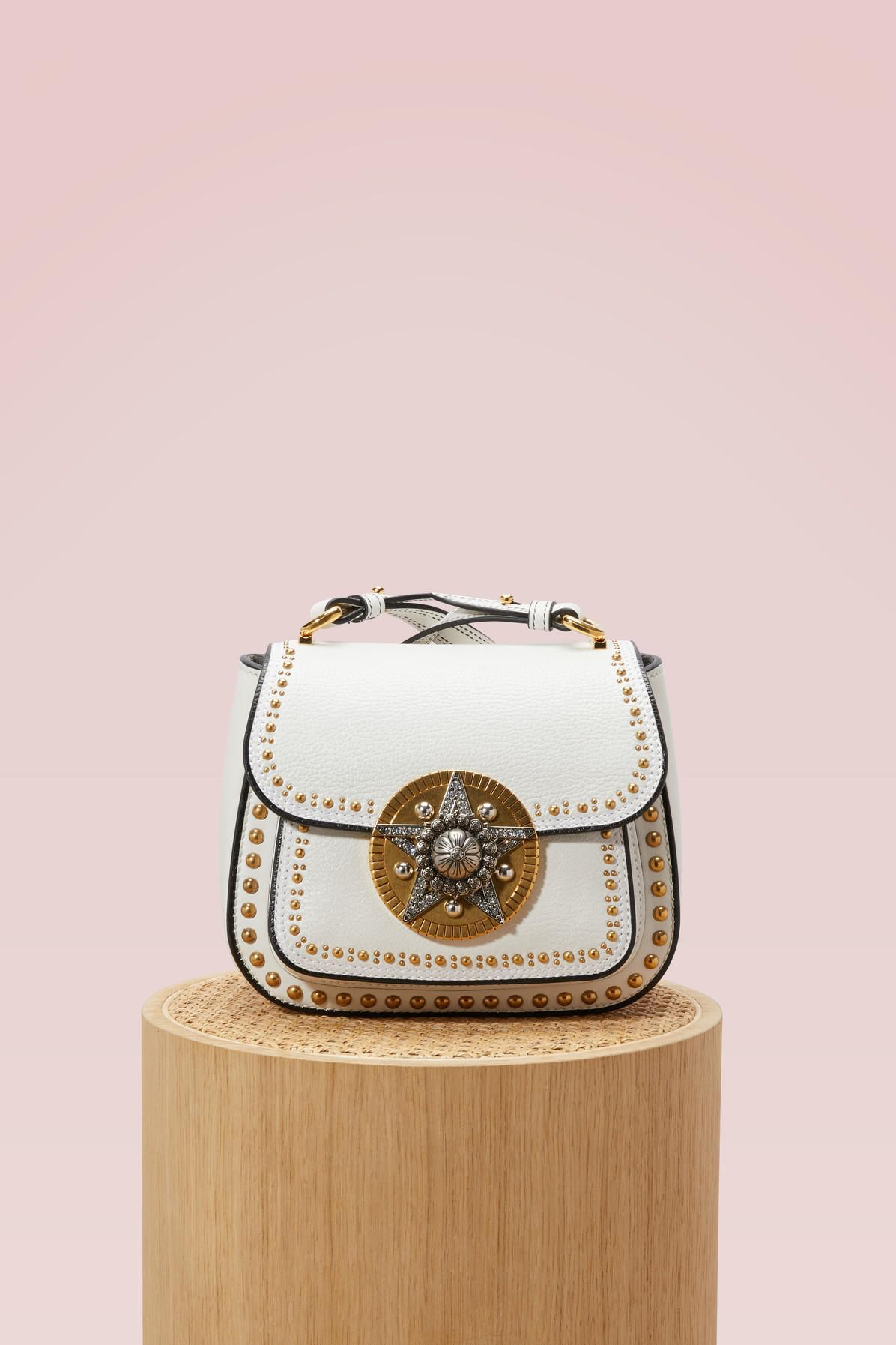 3f9f5b2e66e5 Miu Miu Dahlia Star Leather Crossbody Bag in White - Lyst