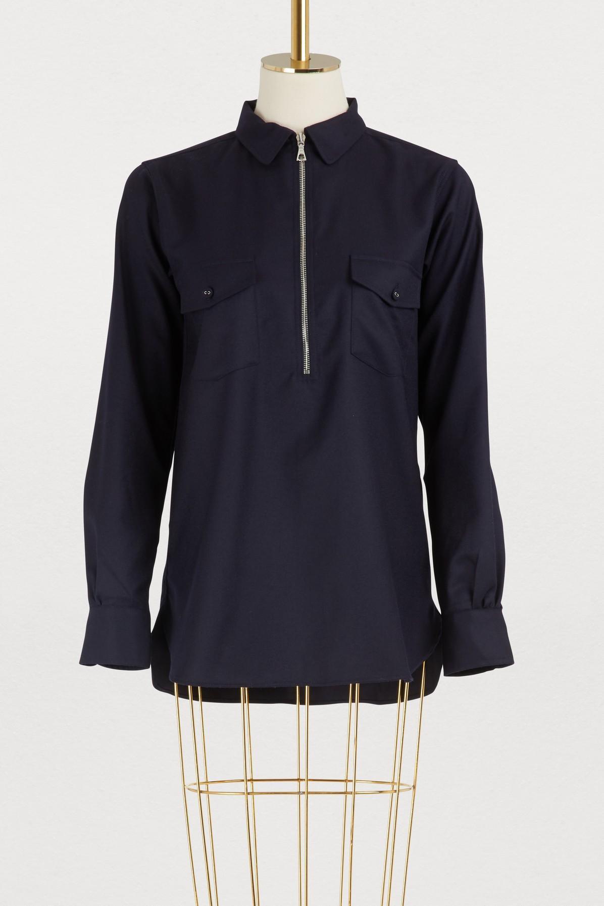 8fe121410158d Lyst - Officine Generale Judith Wool Shirt in Blue