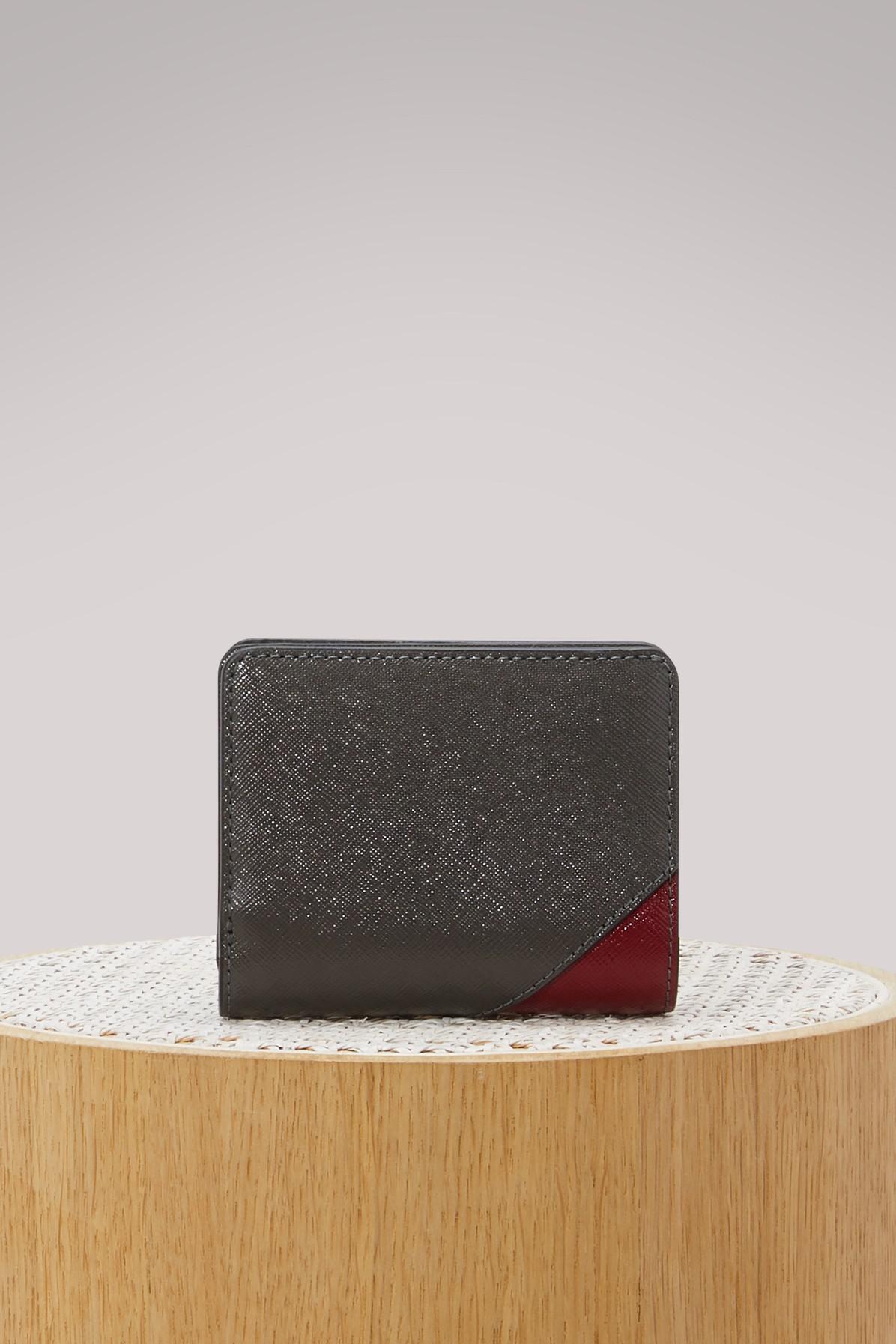 Mini Metal Letters Marc Jacobs Saffiano Metal Letters Mini Compact Wallet  Lyst