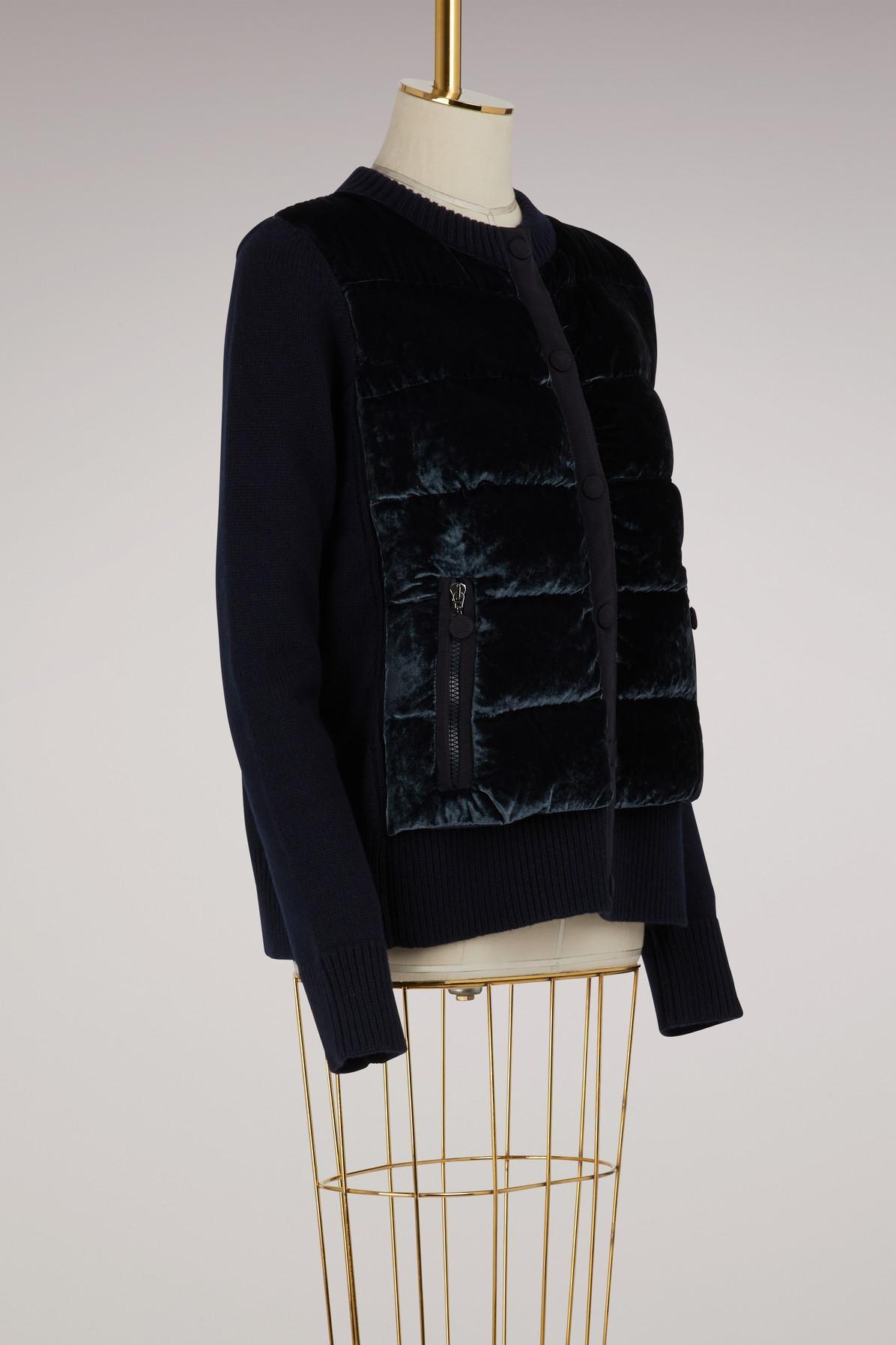 1a6cacfcc Lyst - Moncler Knitted And Velvet Bomber Jacket in Blue