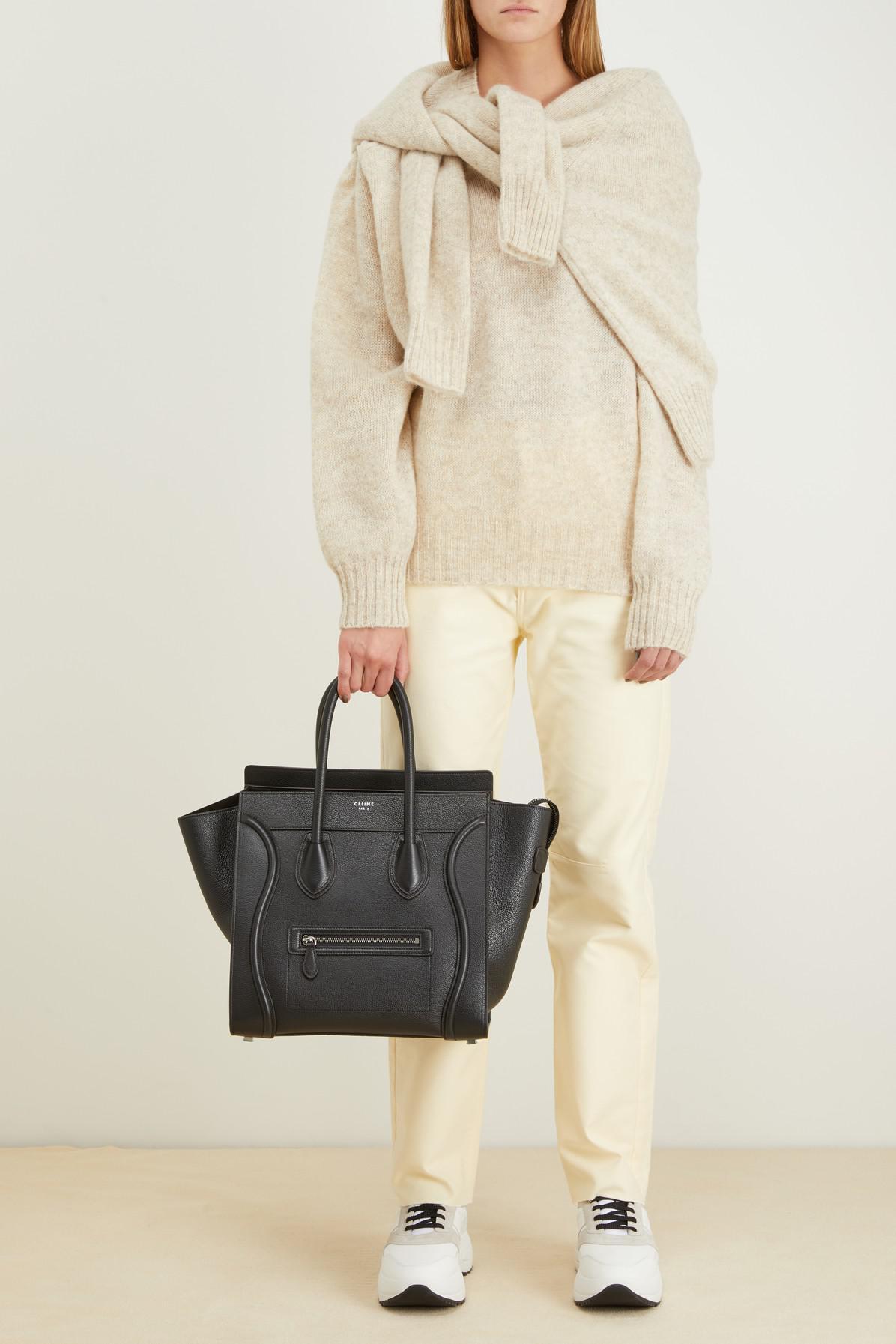 7299cfdf8a Lyst - Céline Mini Luggage Handbag In Drummed Calfskin in Black