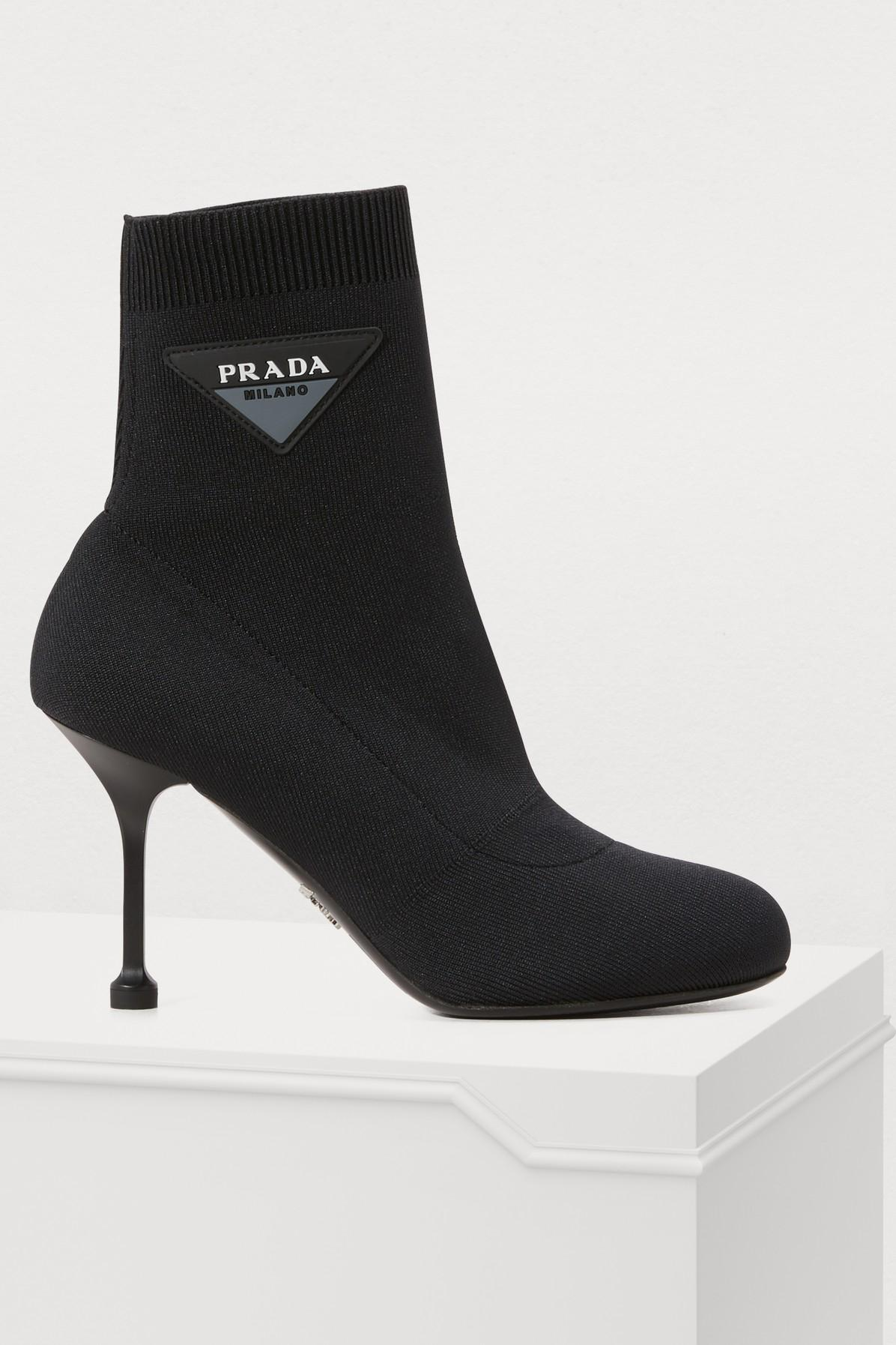 d78ada96f661 Prada - Black Knit Ankle Boots - Lyst. View fullscreen