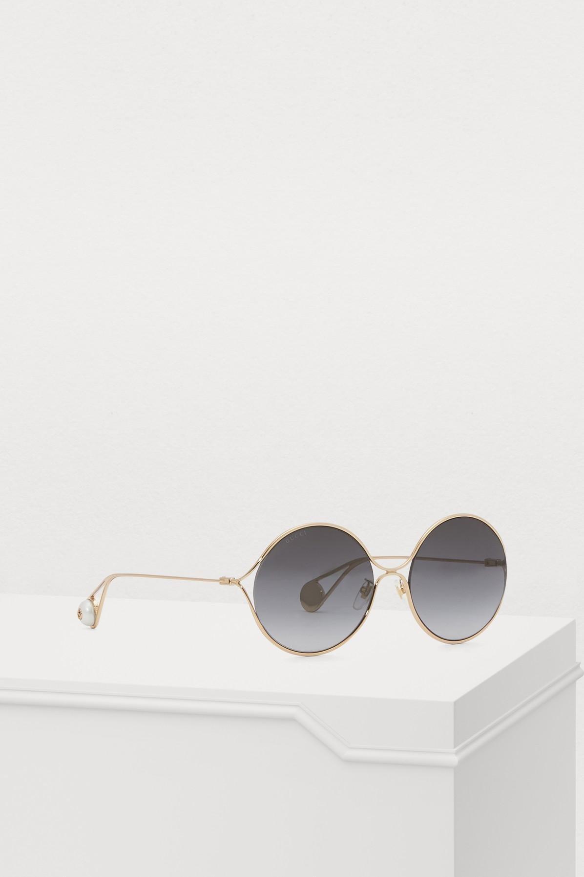 b300d9bd557 Gucci - Multicolor Round-frame Metal Sunglasses - Lyst. View fullscreen