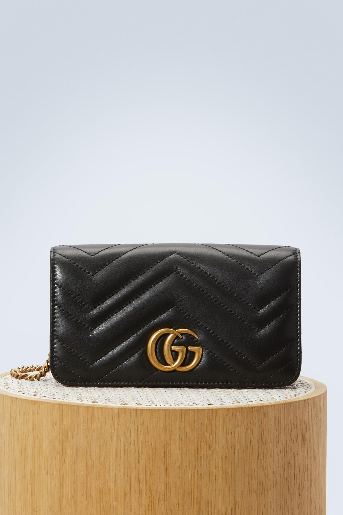 62e623694d8acd Gucci GG Marmont Wallet On Chain in Black - Lyst