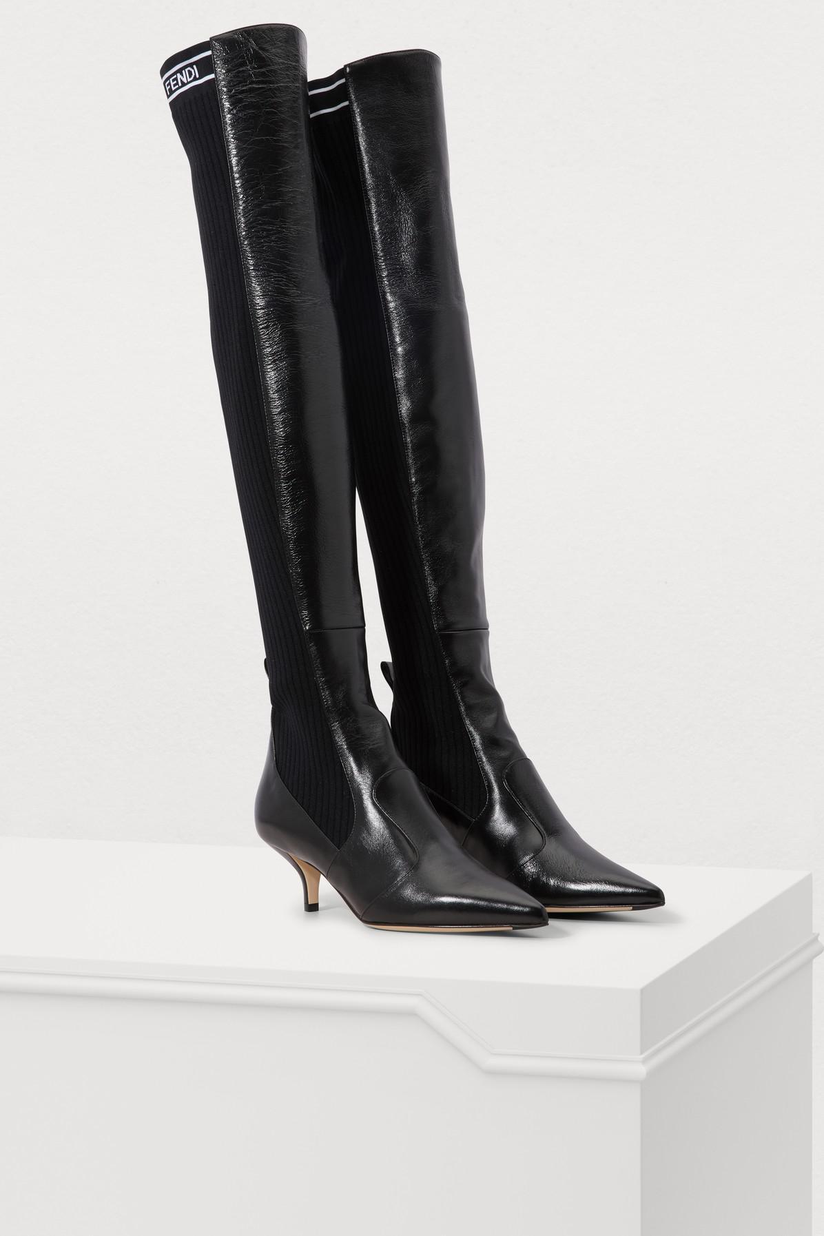 64edd16a Lyst - Fendi Rockoko Thigh Boots in Black