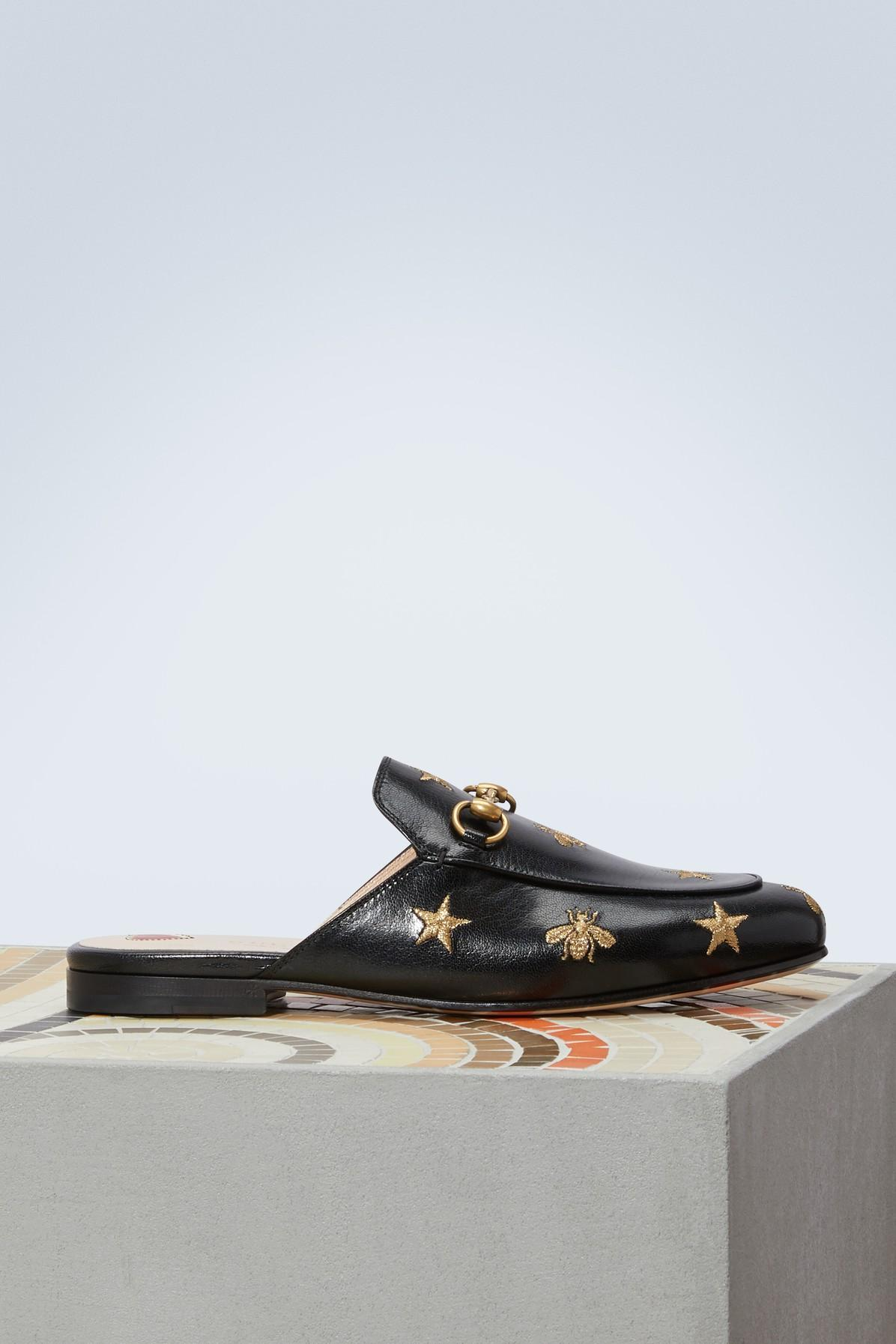 072373a41fe Gucci Princetown Bee Mules in Black - Lyst