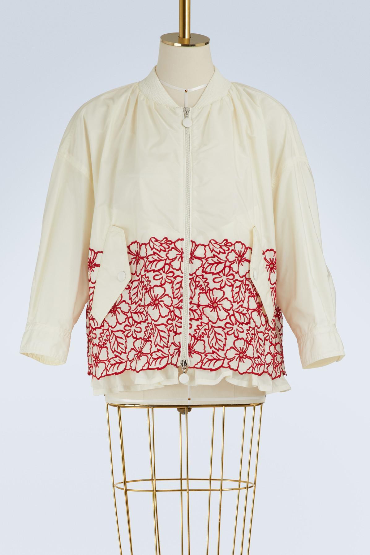 Moncler. Women's White Irish Embroidered Bomber Jacket