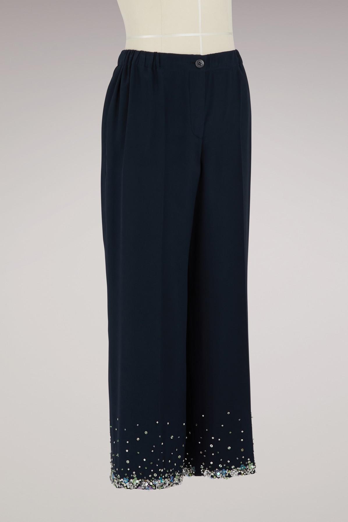 Embroidered silk trousers Miu Miu J9LzUv0FDV