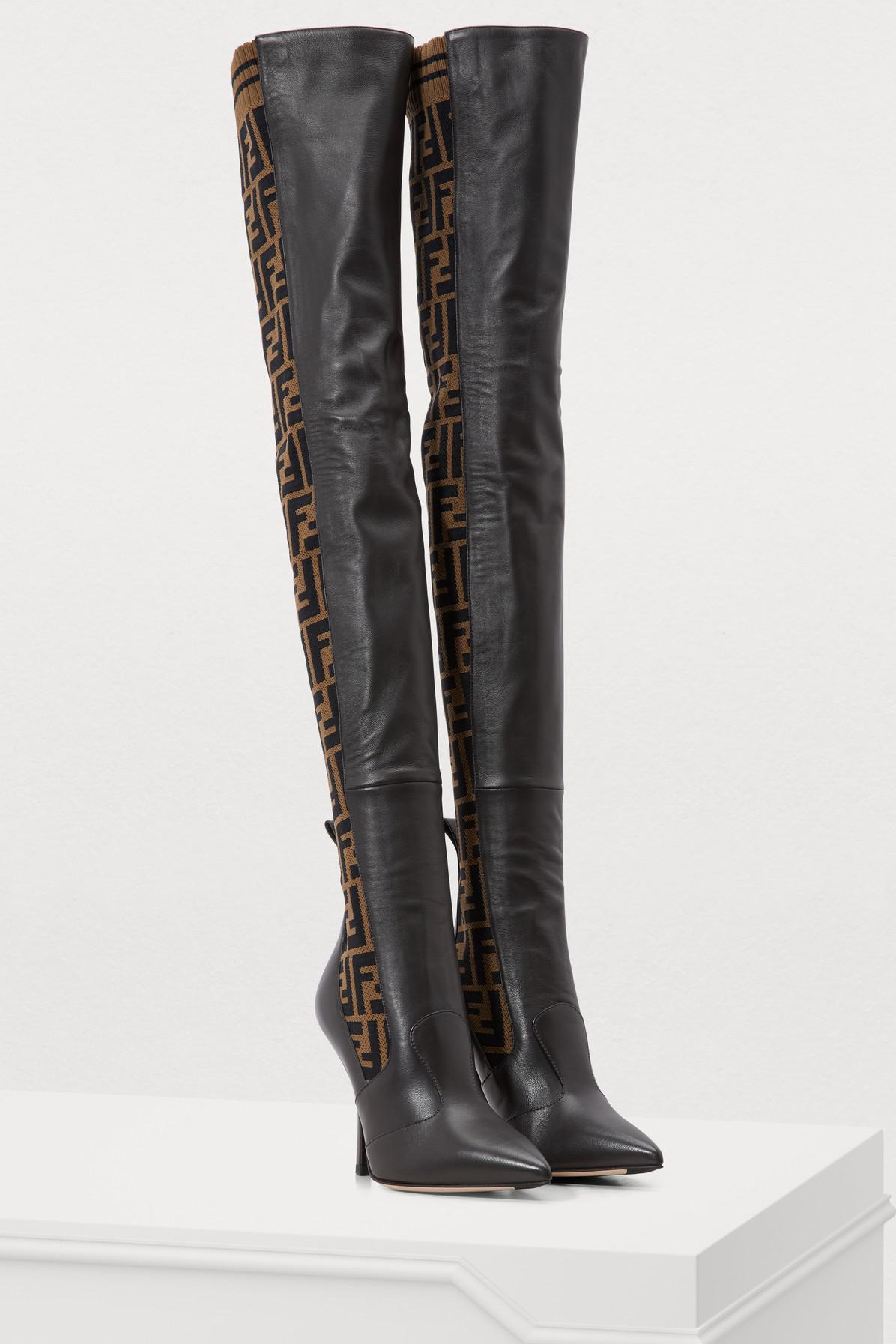 f74fe7c2b5b Fendi - Black Rockoko Heeled Thigh-high Boots - Lyst. View fullscreen