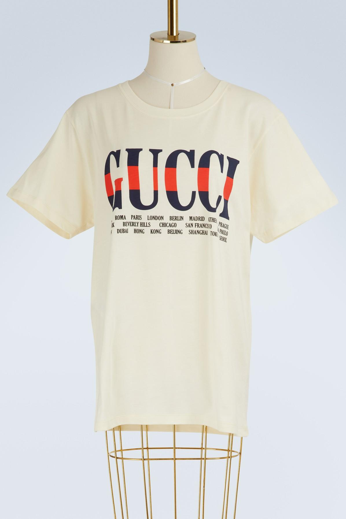 836303b32d5 Gucci - White Negozio Printed T-shirt - Lyst. View fullscreen