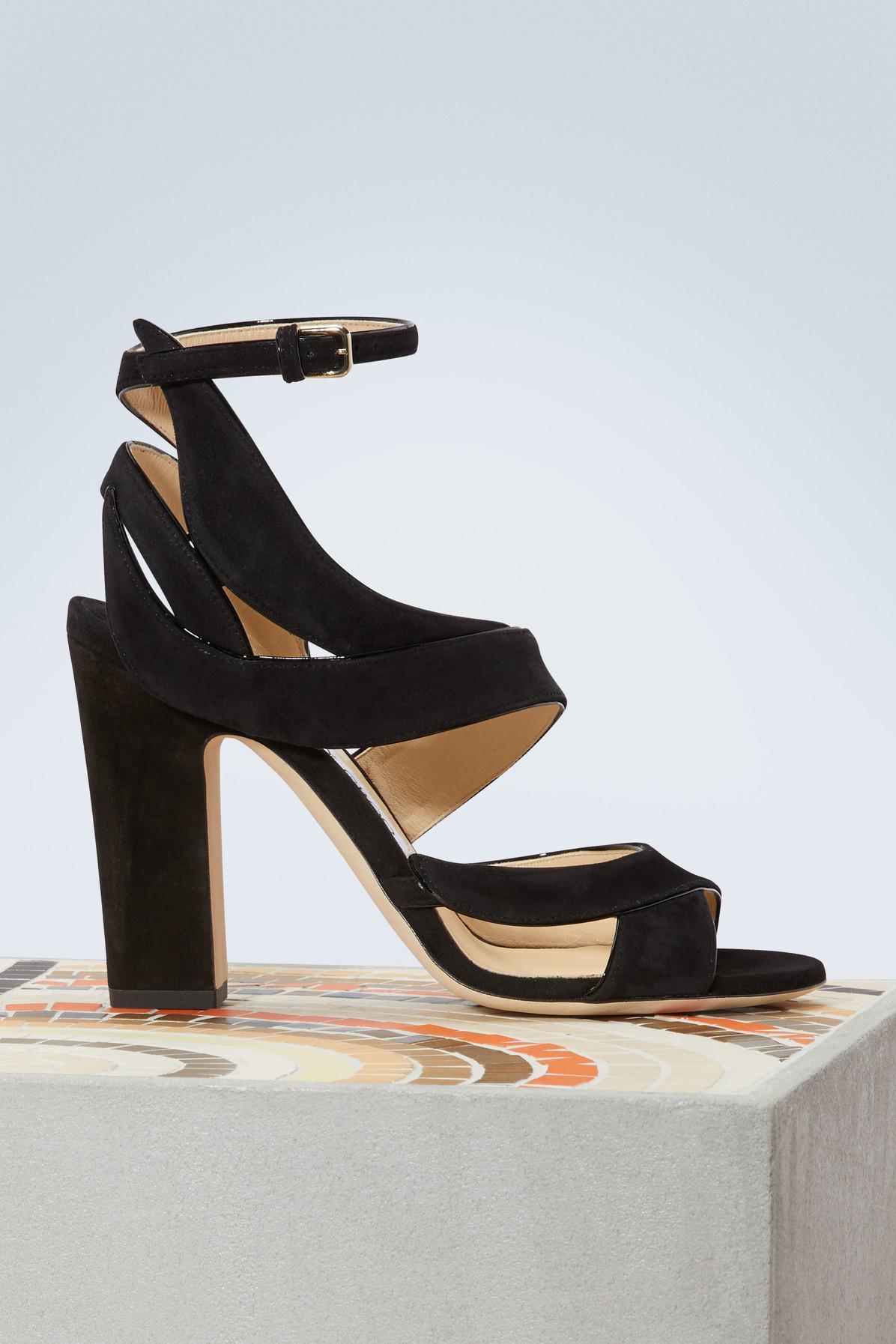 4b8ede0651756a Jimmy Choo Falcon 100 Sandals in Black - Lyst