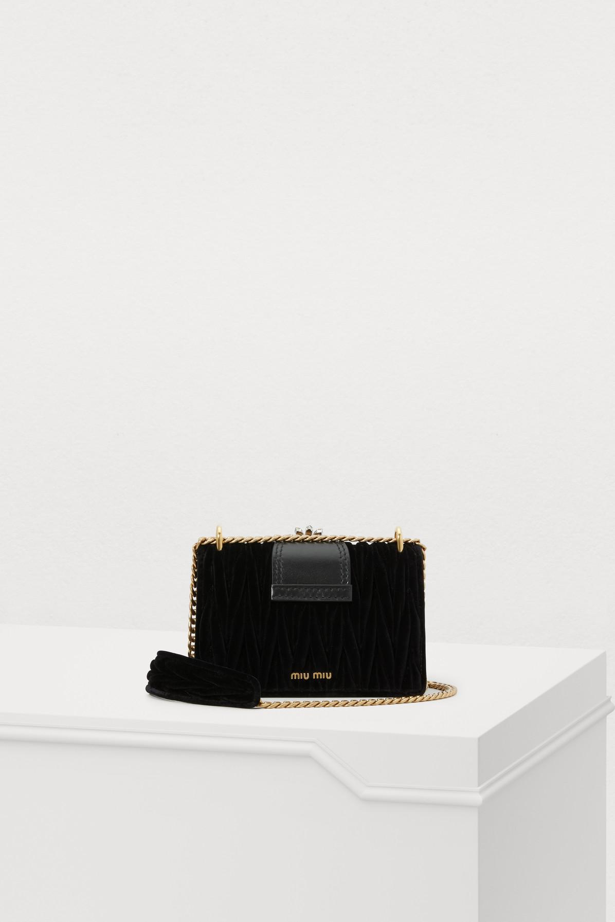 3c5b92e99562 ... Black Miu Lady Velvet Crossbody Bag - Lyst. View fullscreen