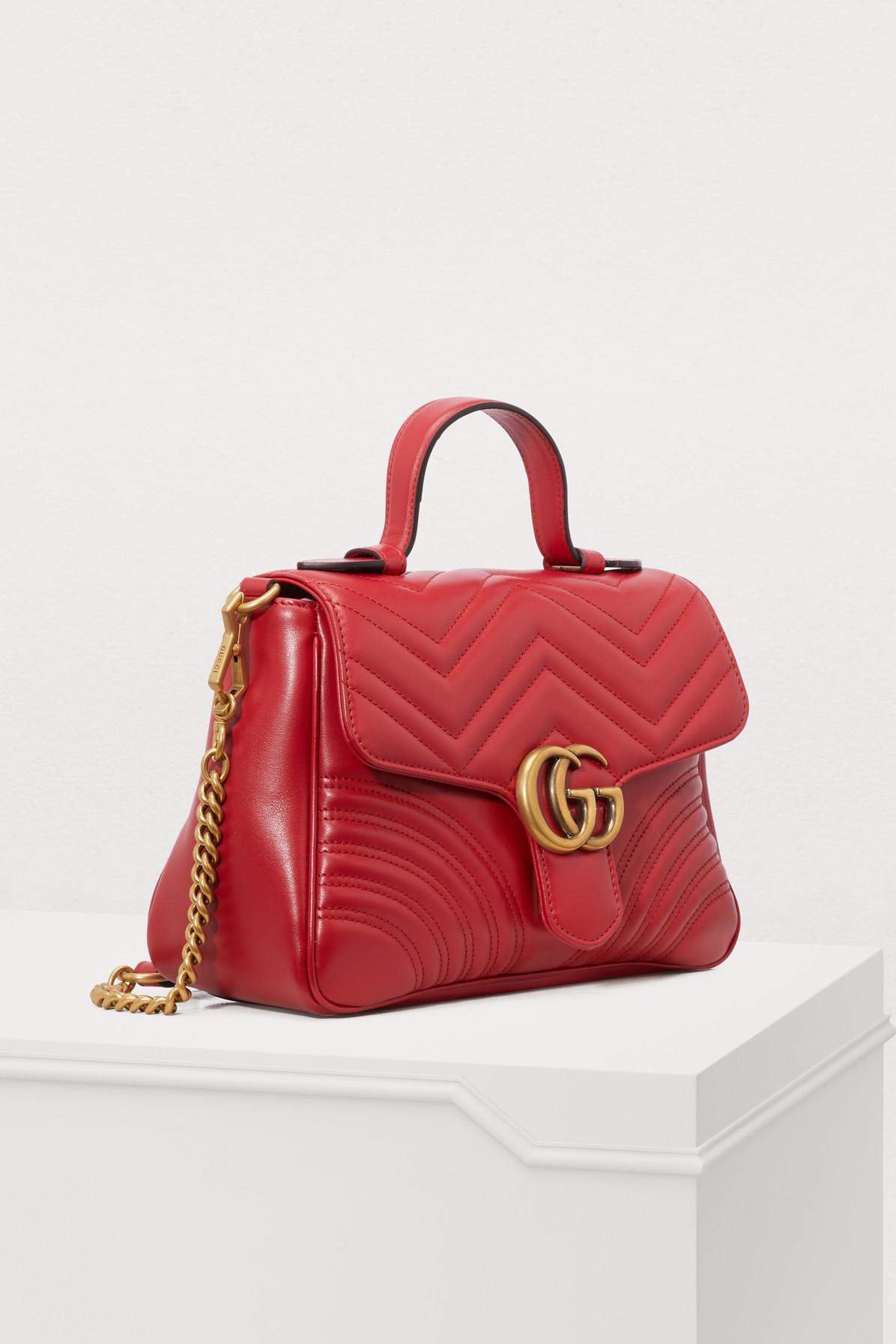 8fec383369eea0 Gucci - Red GG Marmont Matelassé Top Handle Bag - Lyst. View fullscreen