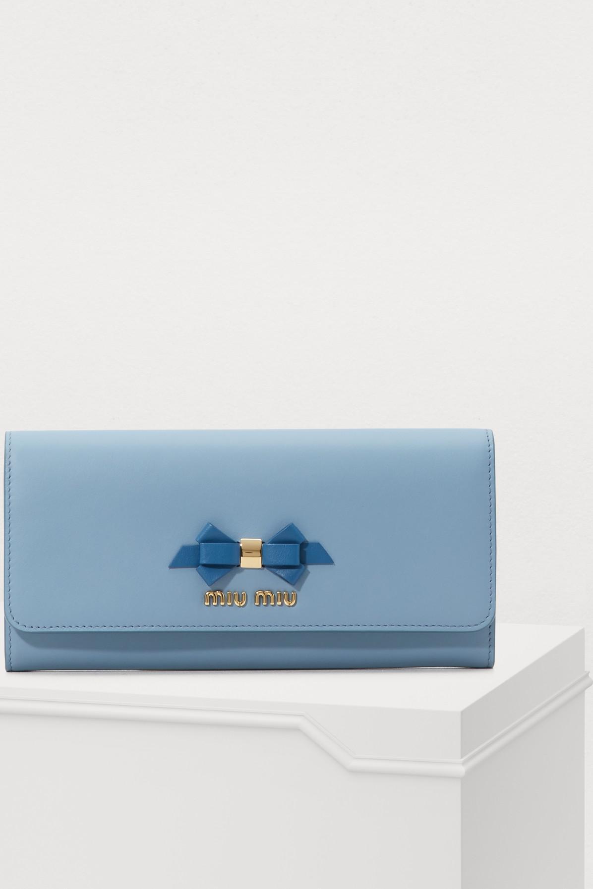 Lyst - Miu Miu Bow Wallet in Blue 57e13da5bc54a