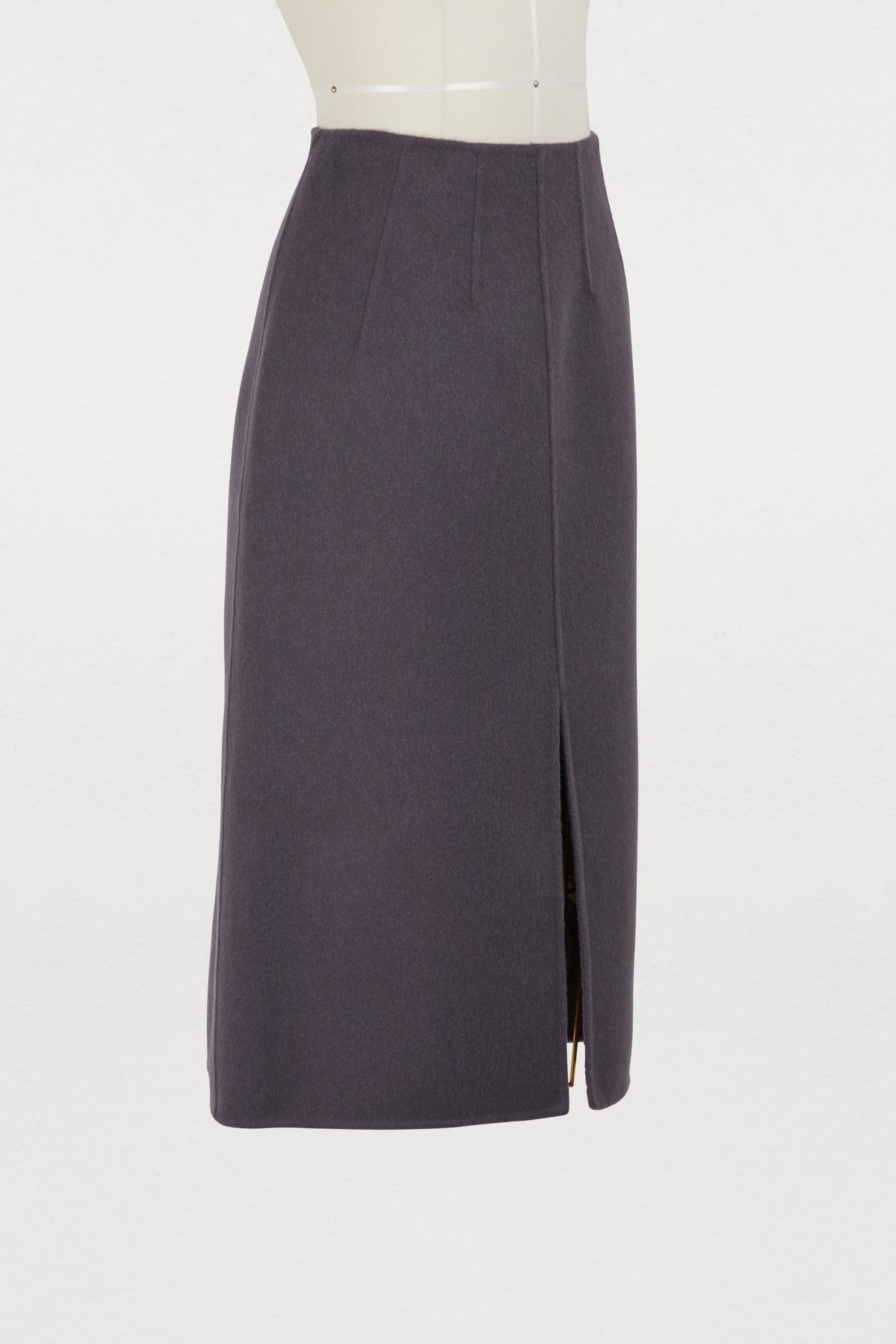 d4e8038e7 Bottega Veneta - Purple Cashmere Straight Skirt - Lyst. View fullscreen