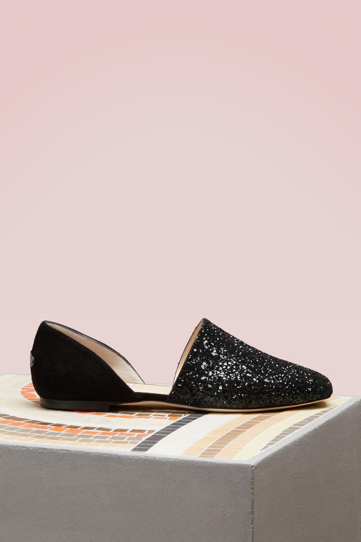 a3daac3c4c86 Lyst - Jimmy Choo Globe Flat Coarse Glitter And Suede Flats in Black