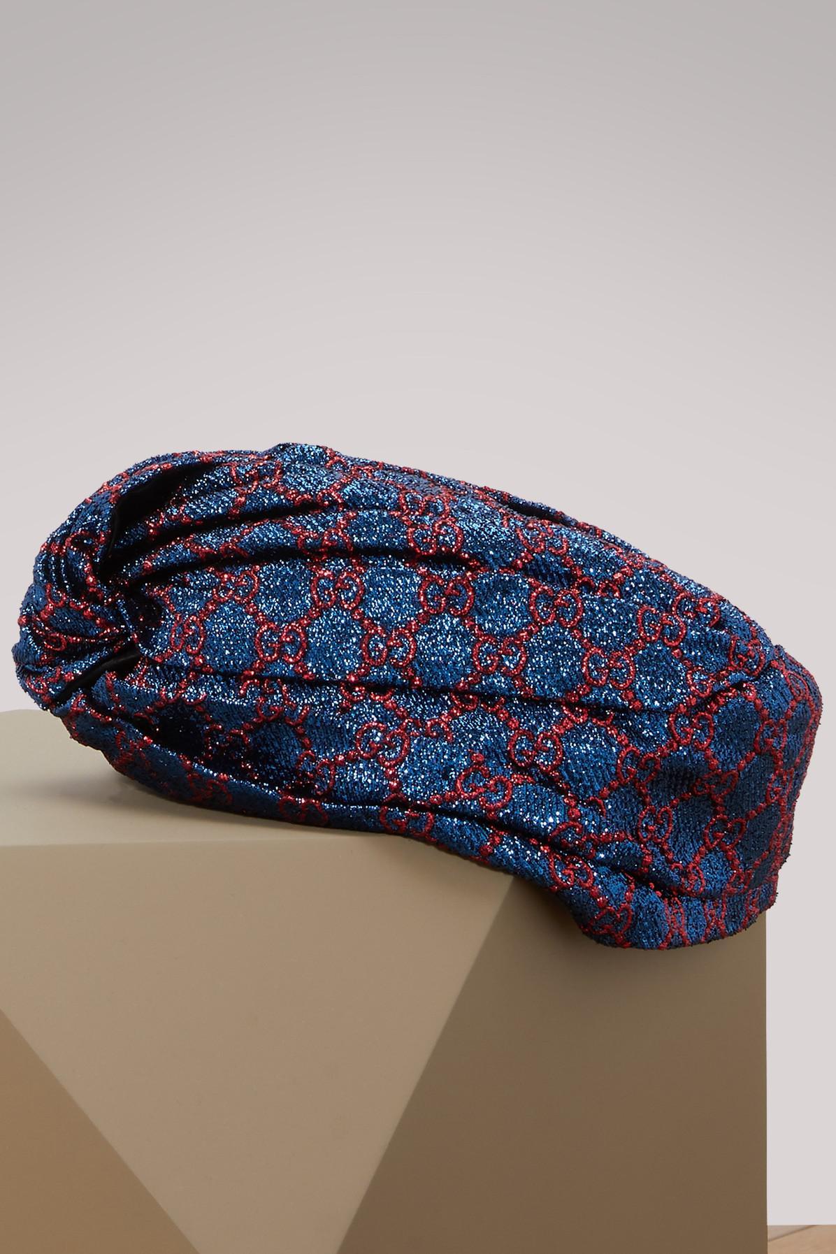 7fe7bd10c8f84 Gucci GG Lurex Turban in Blue - Lyst