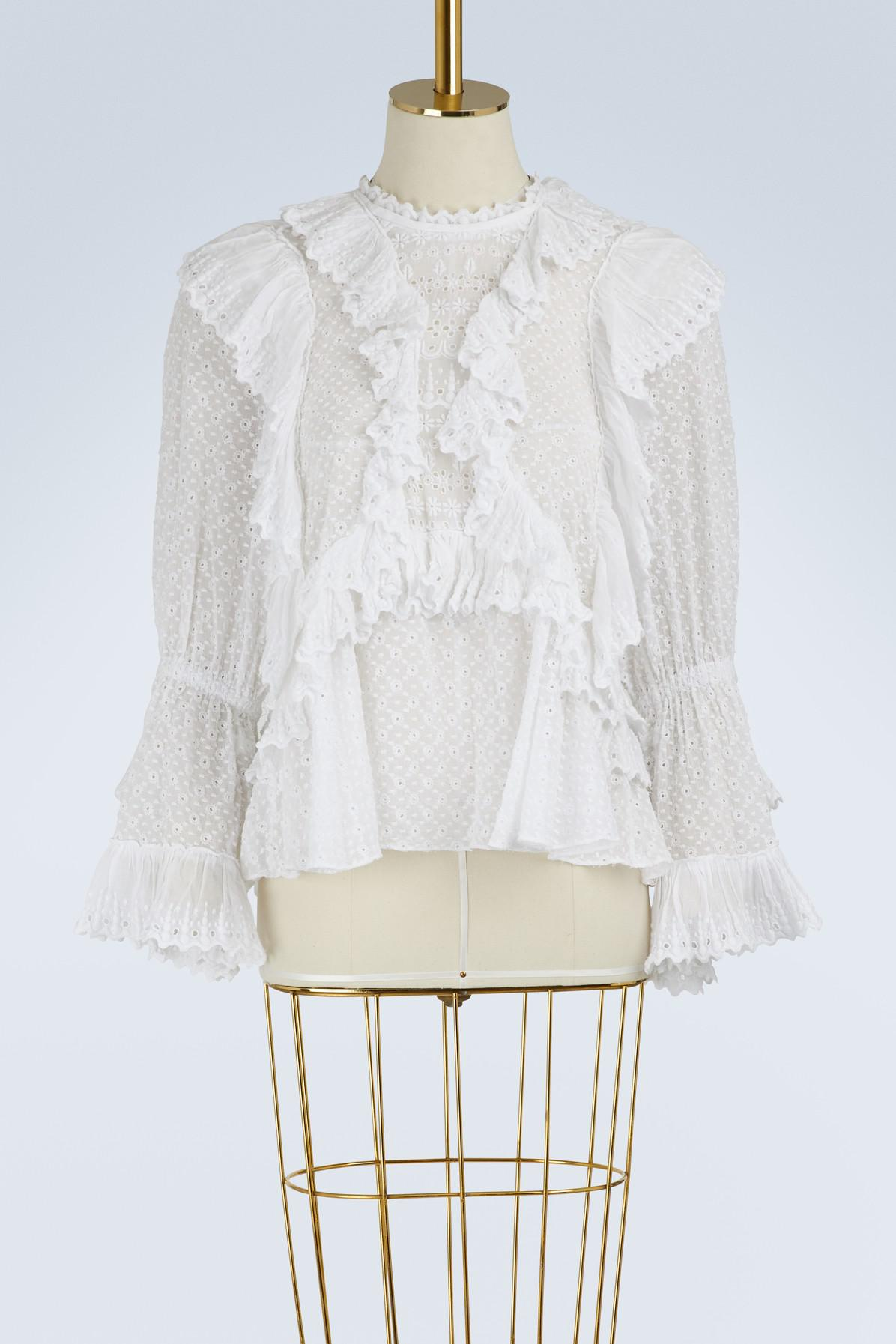 5d29bc18bce Isabel Marant Zim Ruffled Blouse in White - Lyst