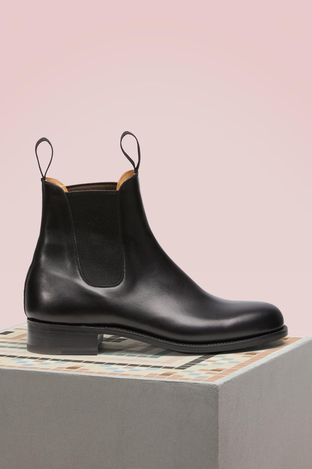 J.M. Weston. Women's Black Cambre Box Calf Chelsea Boots
