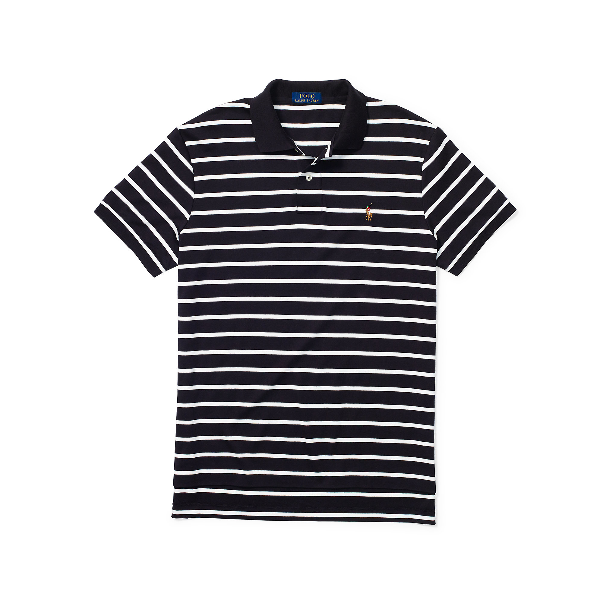 a1e11813 ... shirt 78adb 3c8a0; best price lyst polo ralph lauren striped pima soft  touch polo in black for men cf461