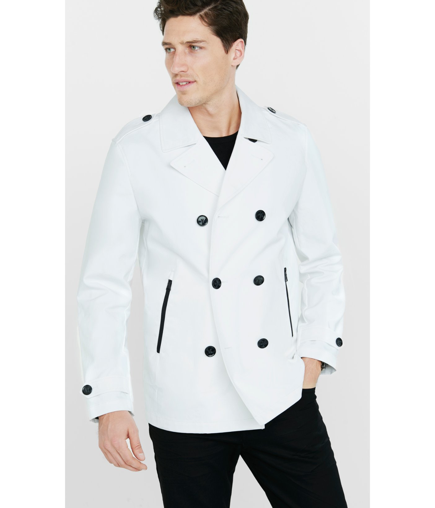 Express White Cotton Peacoat in White for Men | Lyst