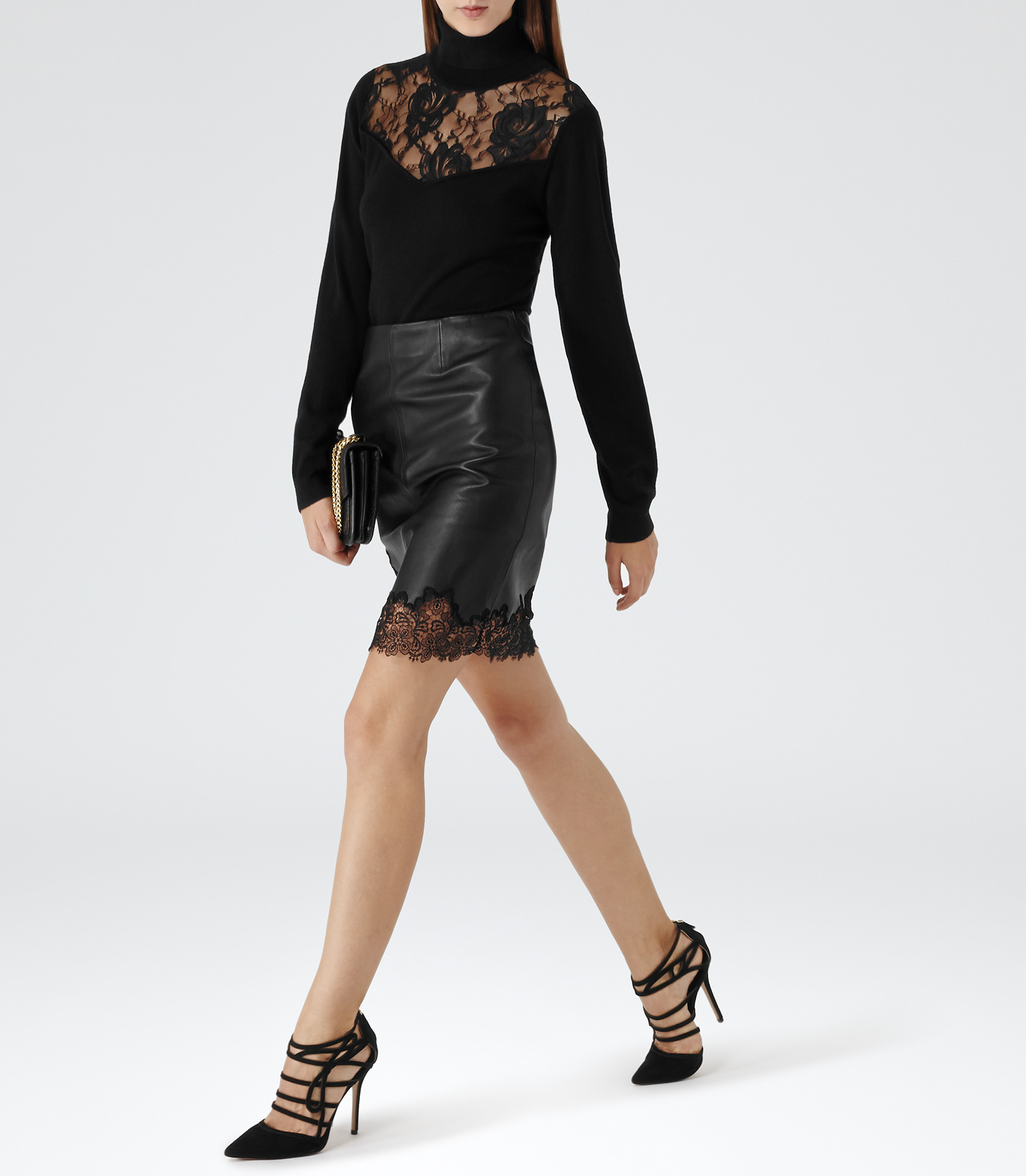 Leather And Lace Skirt - Dress Ala