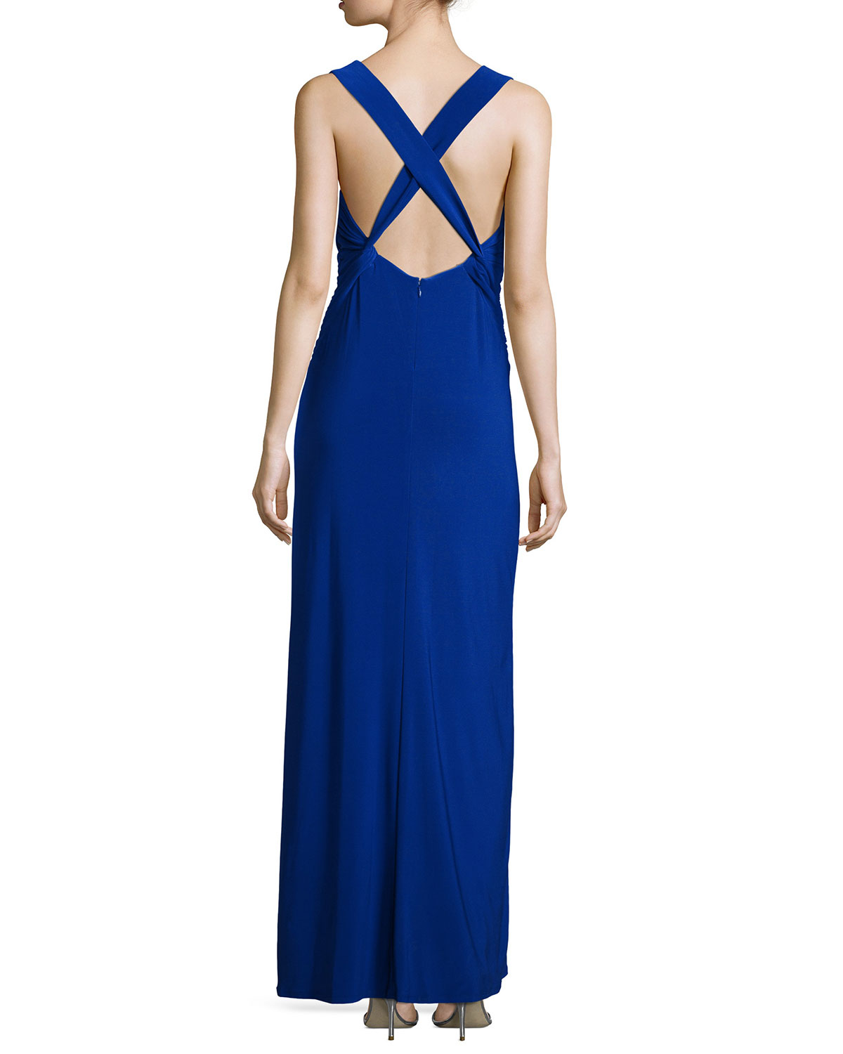 laundry by shelli segal laundry by shelli segal sleeveless crisscross gown in blue 12096