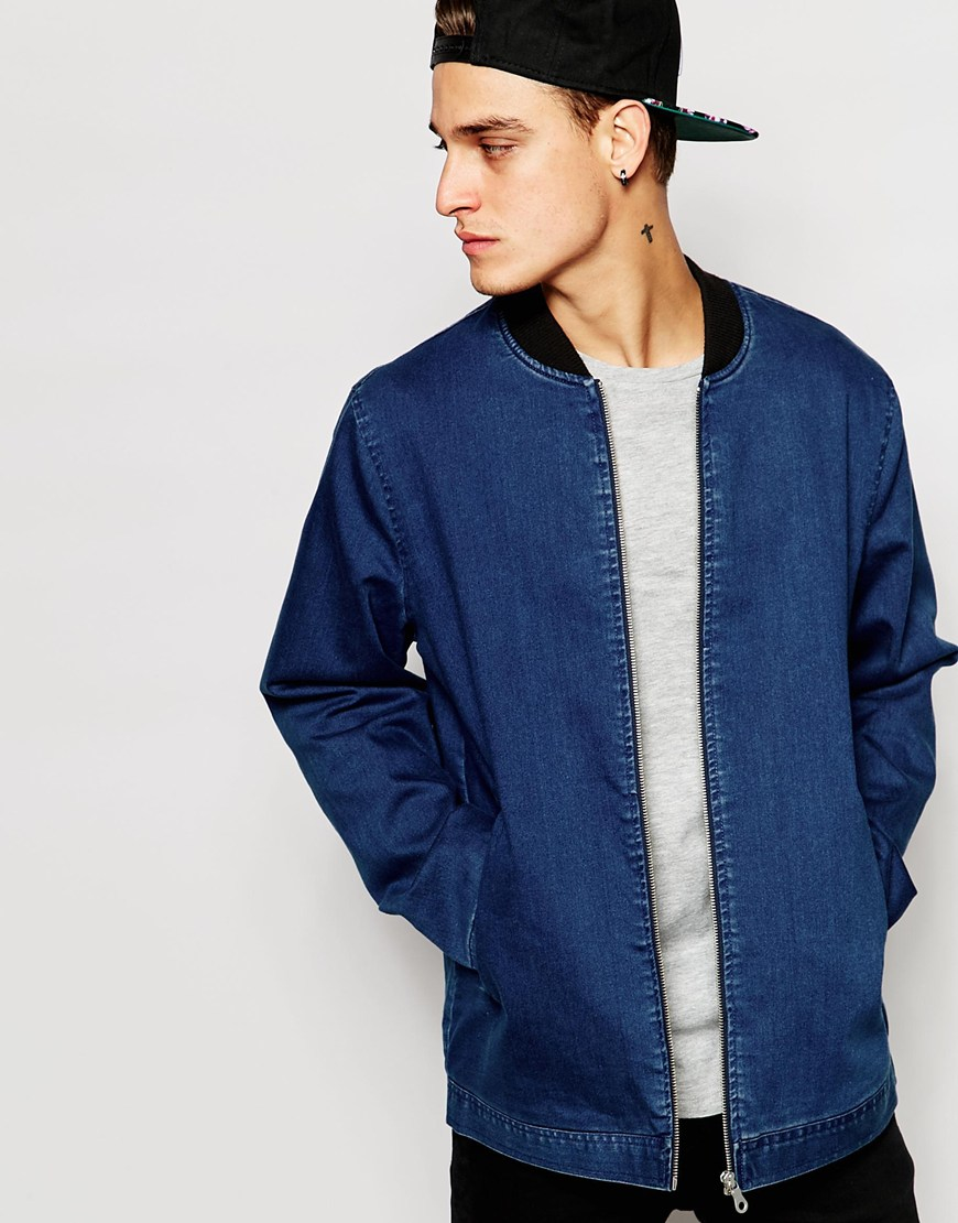 Asos Longline Denim Bomber Jacket In Dark Wash in Blue for Men | Lyst