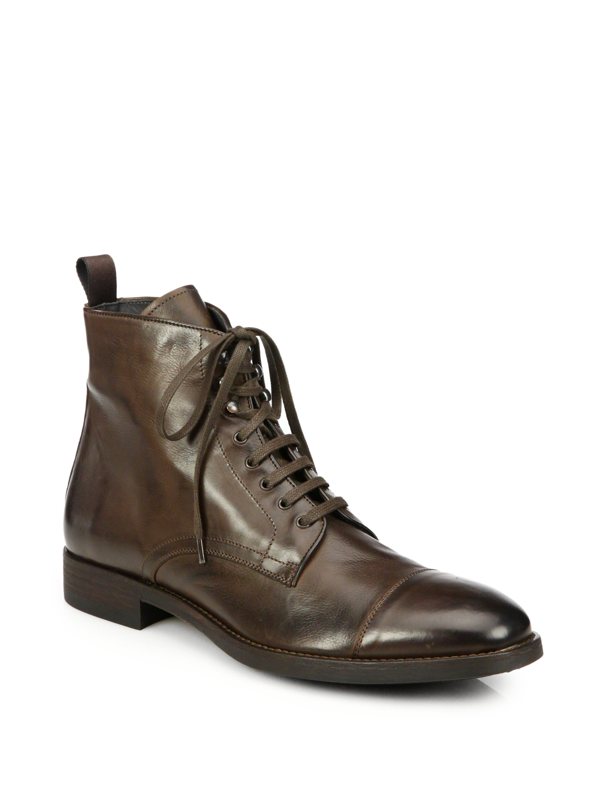 to boot stallworth leather cap toe boots in brown for