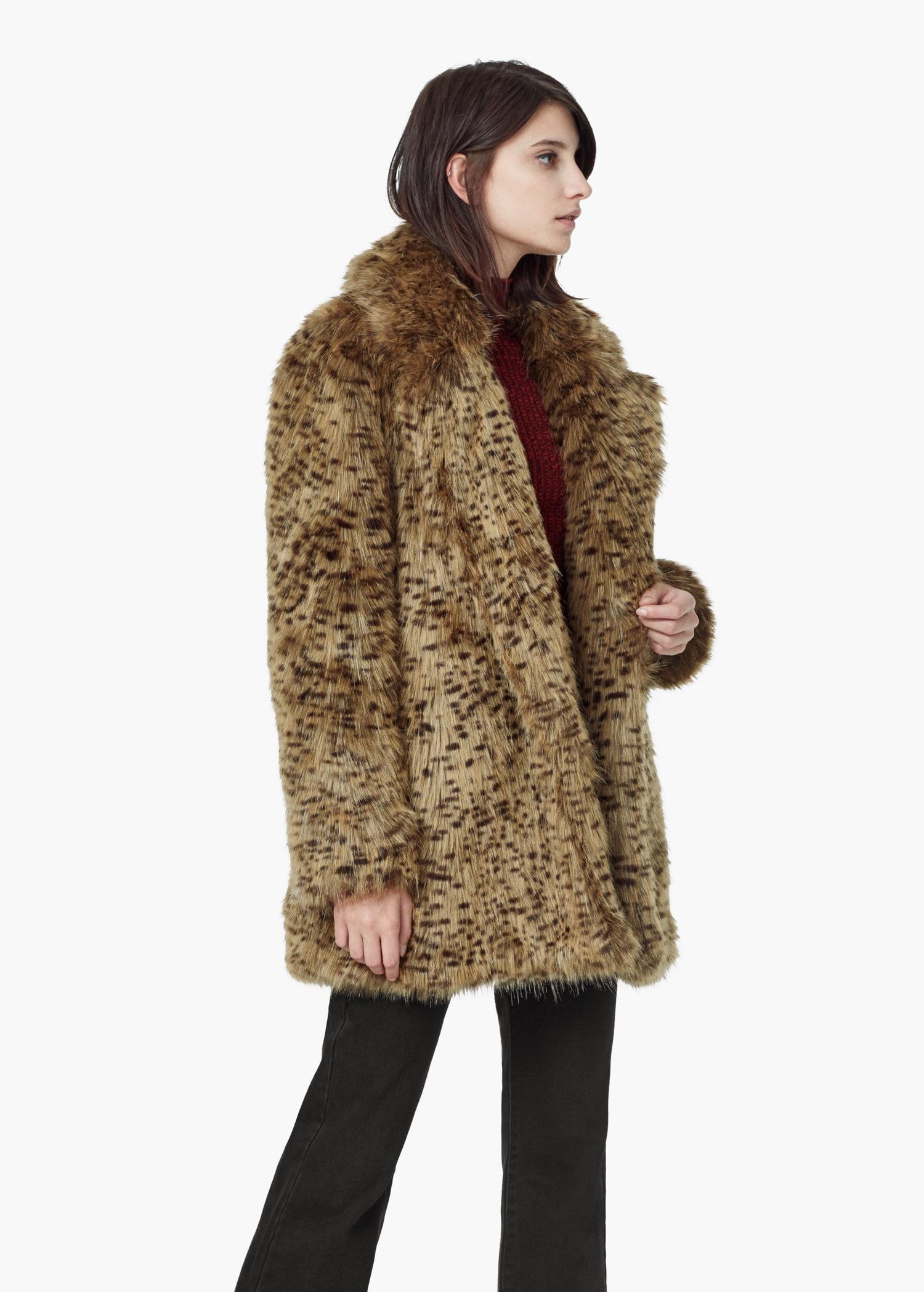7f61cb45deec Lyst Mango Leopard Faux Fur Coat In Brown