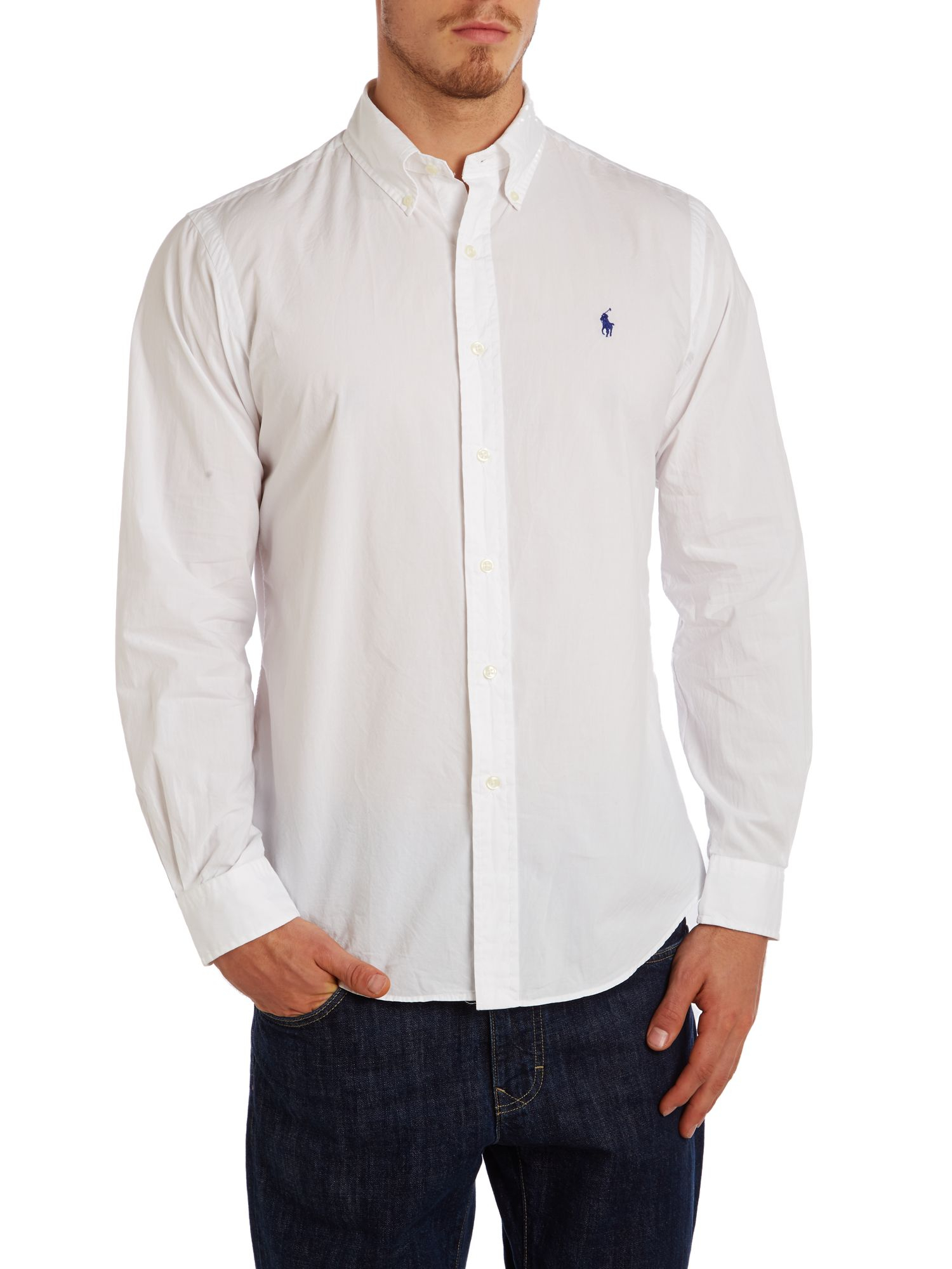Polo ralph lauren classic long sleeve custom fit shirt in for Long sleeve fitted polo shirts
