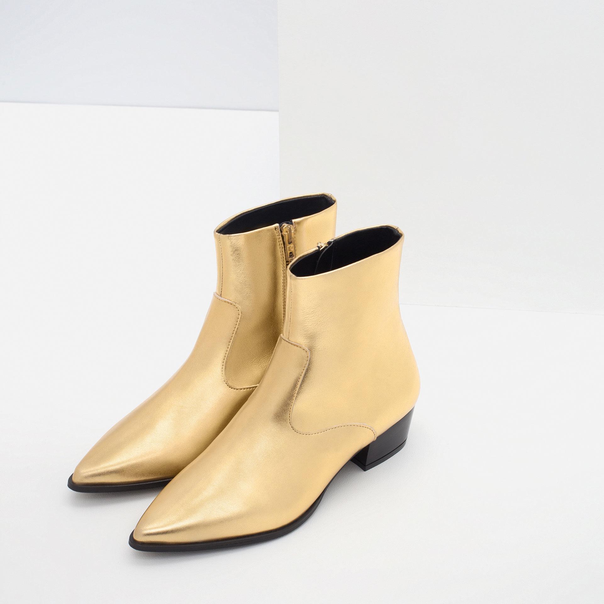 zara gold tone flat ankle boots in metallic lyst