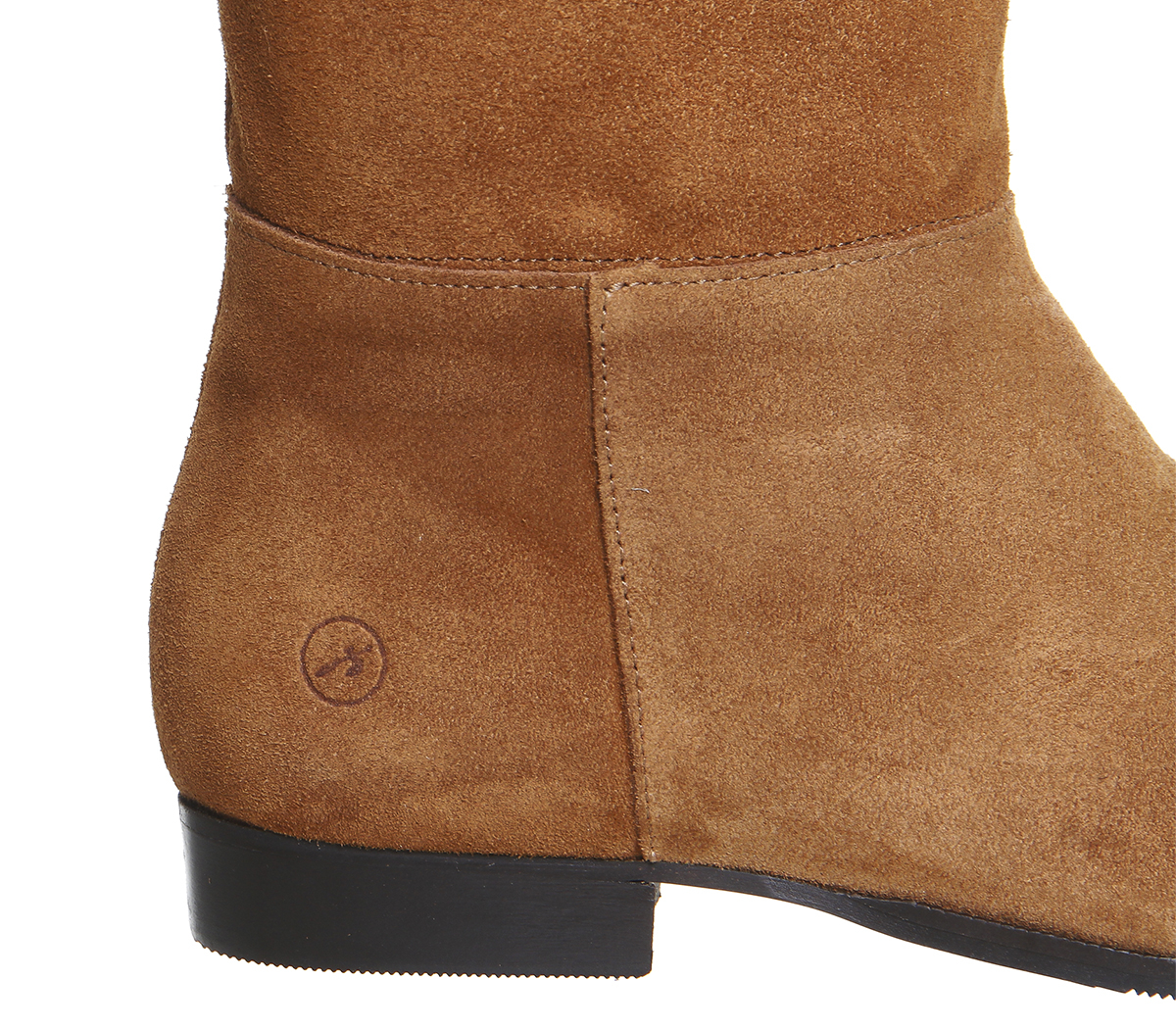 office enigma point suede knee boots in brown lyst