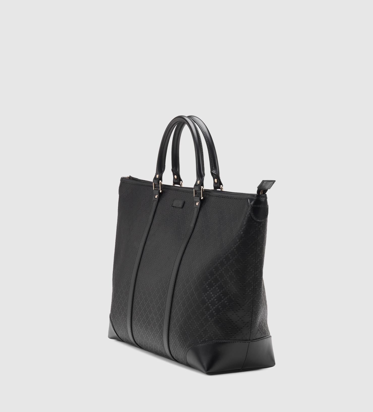 50791d9246f Lyst - Gucci Medium Black Diamante Leather Top Handle Tote in Black
