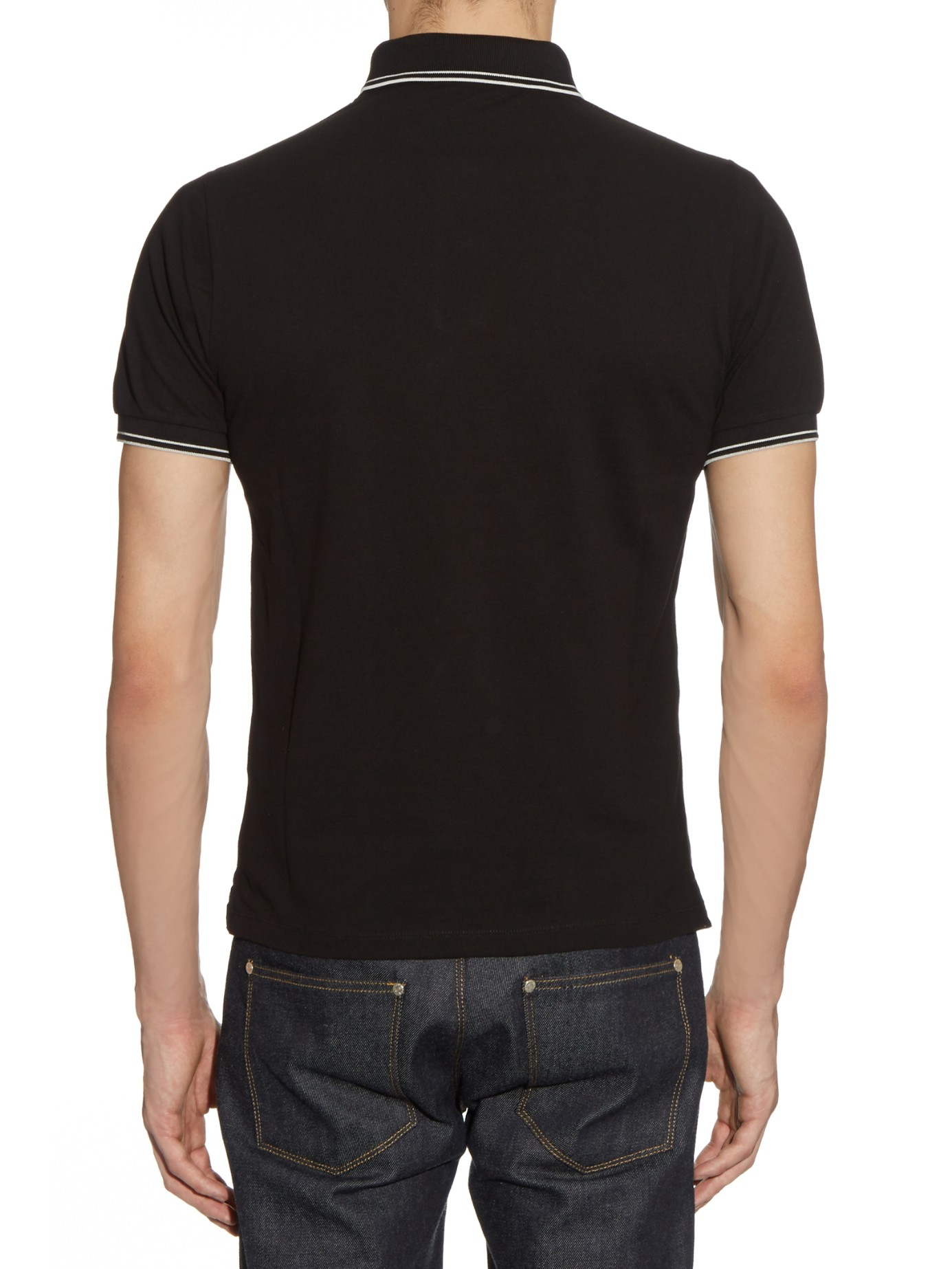 Lyst stone island short sleeved cotton blend polo shirt for Black cotton polo shirt