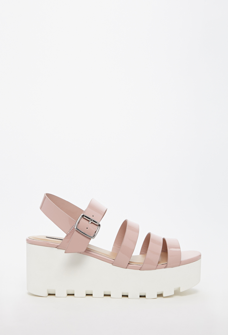 Lyst - Forever 21 Patent Faux Leather Platform Sandal in Pink ca4c66b0c2