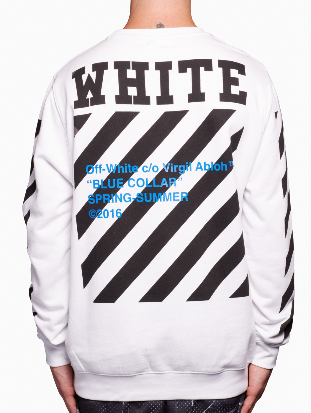 off white c o virgil abloh blue collar sweatshirt in white for men lyst. Black Bedroom Furniture Sets. Home Design Ideas