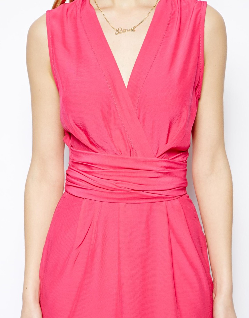 Asos Sleeveless Wrap Dress With Tulip Skirt In Pink Lyst