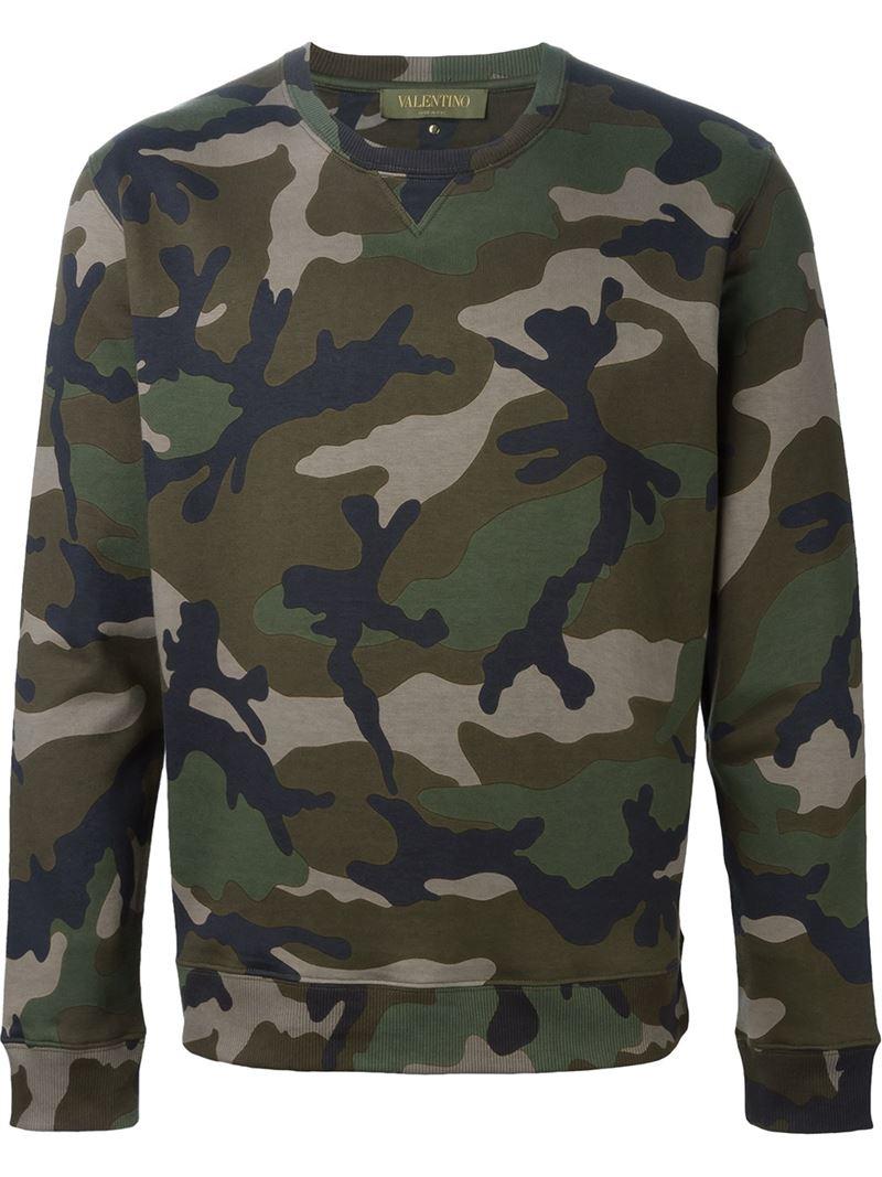 Valentino Rockstud Camouflage Sweatshirt In Green For